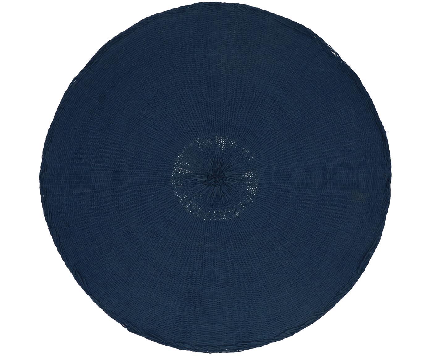 Ronde placemats Kolori, 2 stuks, Papiervezels, Blauw, Ø 38 cm