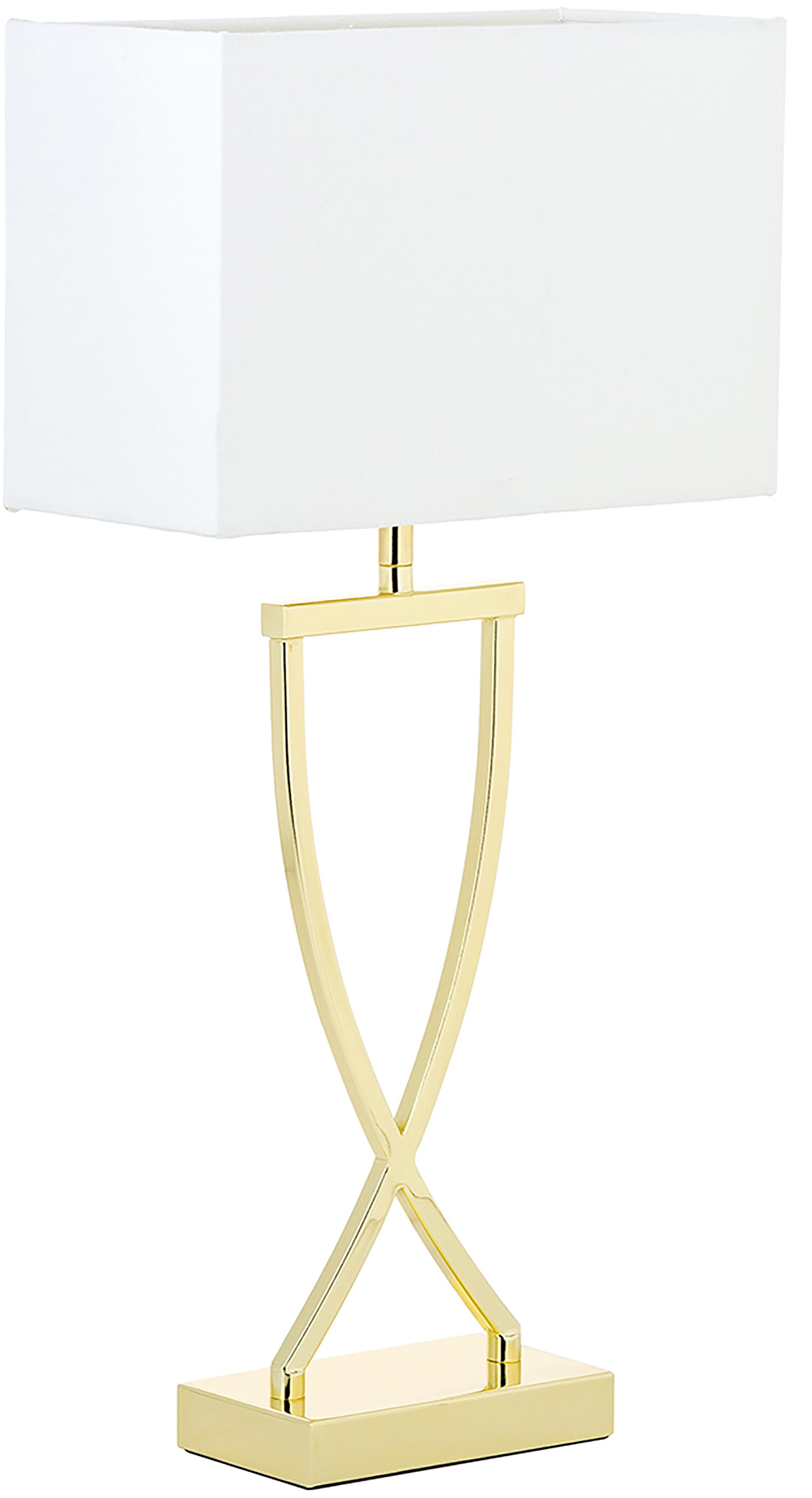 Klassische Tischlampe Vanessa, Lampenfuß: Metall, Lampenschirm: Textil, Goldfarben, 27 x 52 cm