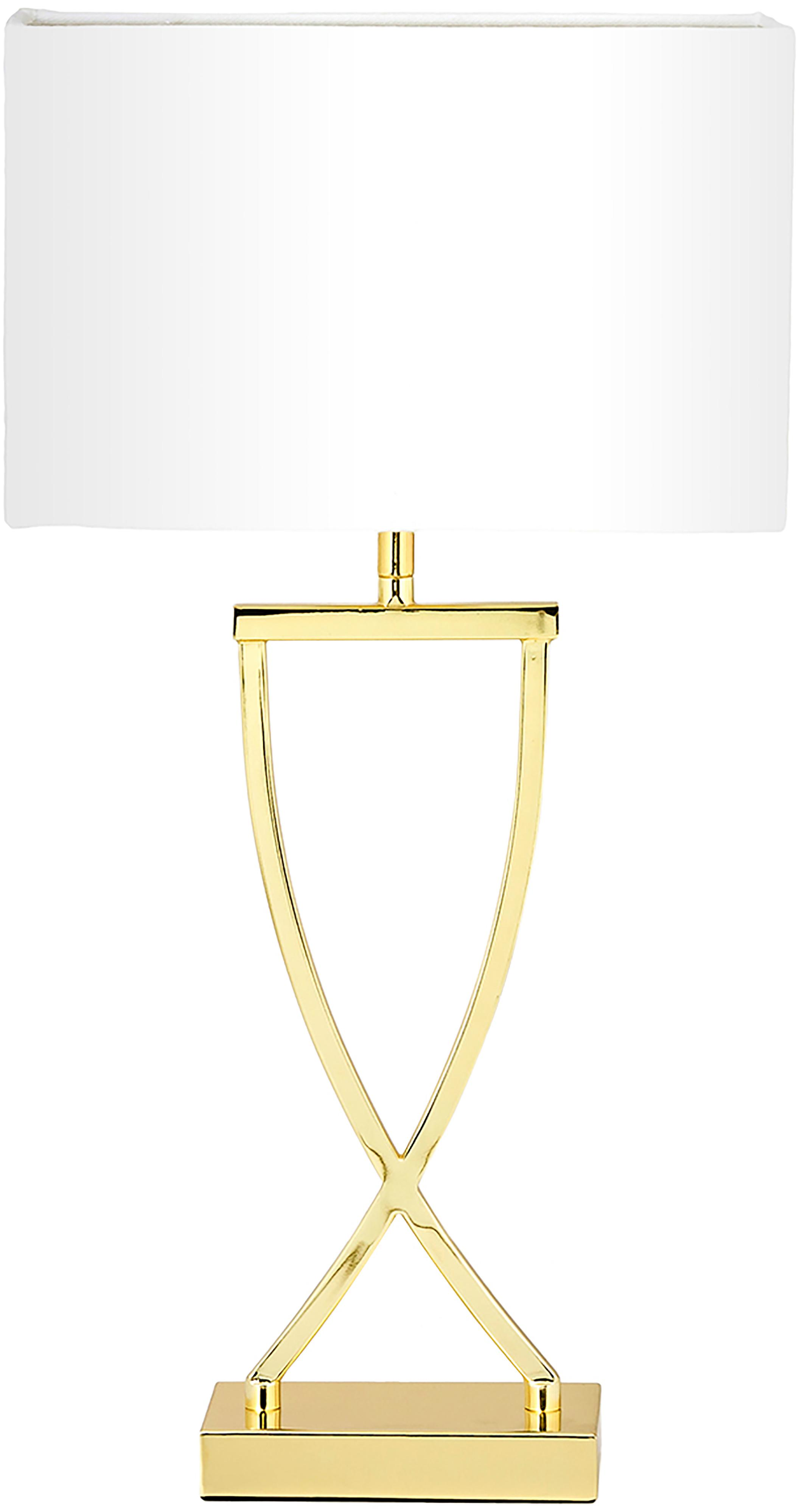 Lampada da tavolo classica Vanessa, Base della lampada: Metallo, Paralume: Tessuto, Dorato, Larg. 27 x Alt. 52 cm