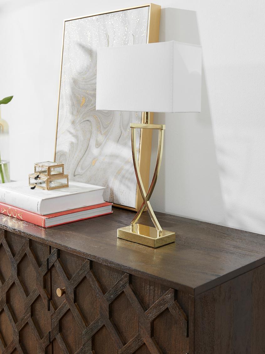 Tafellamp Vanessa, Lampvoet: metaal, Lampenkap: textiel, Goudkleurig, 27 x 52 cm