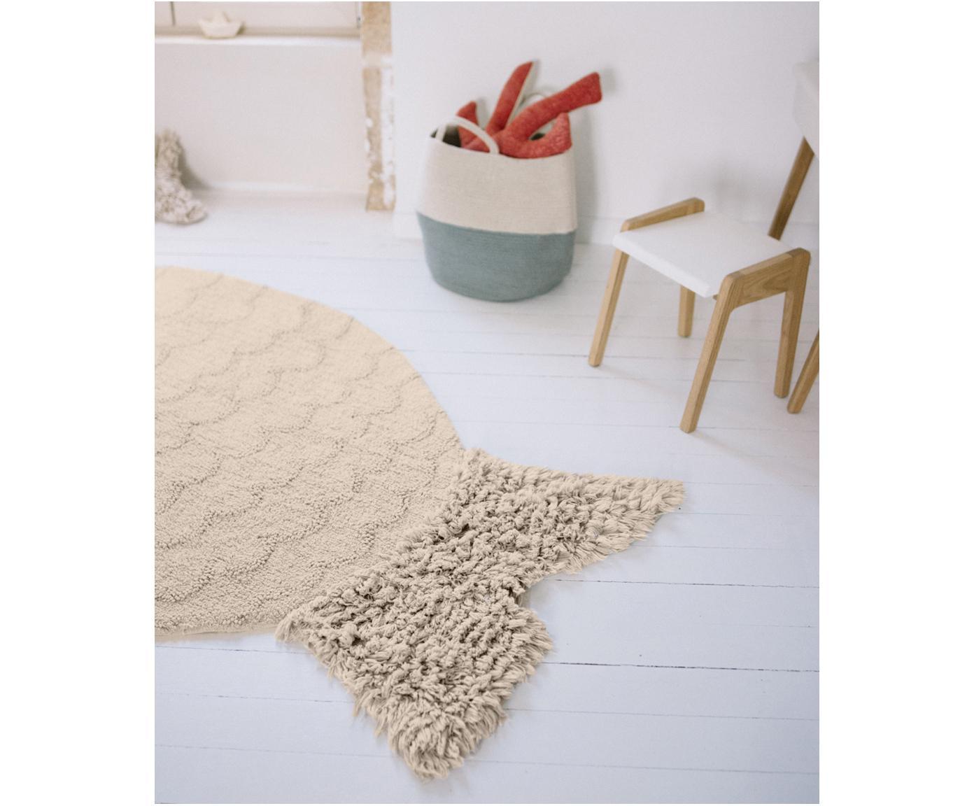 Waschbarer Teppich Big Fish, Flor: 97% Baumwolle, 3% recycel, Beige, 110 x 180 cm