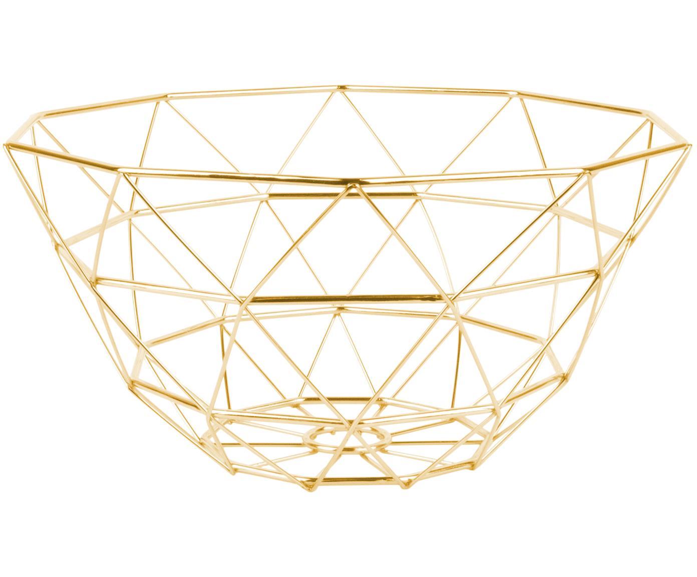 Aufbewahrungskorb Diamond Cut, Metall, Goldfarben, matt, Ø 30 x H 15 cm