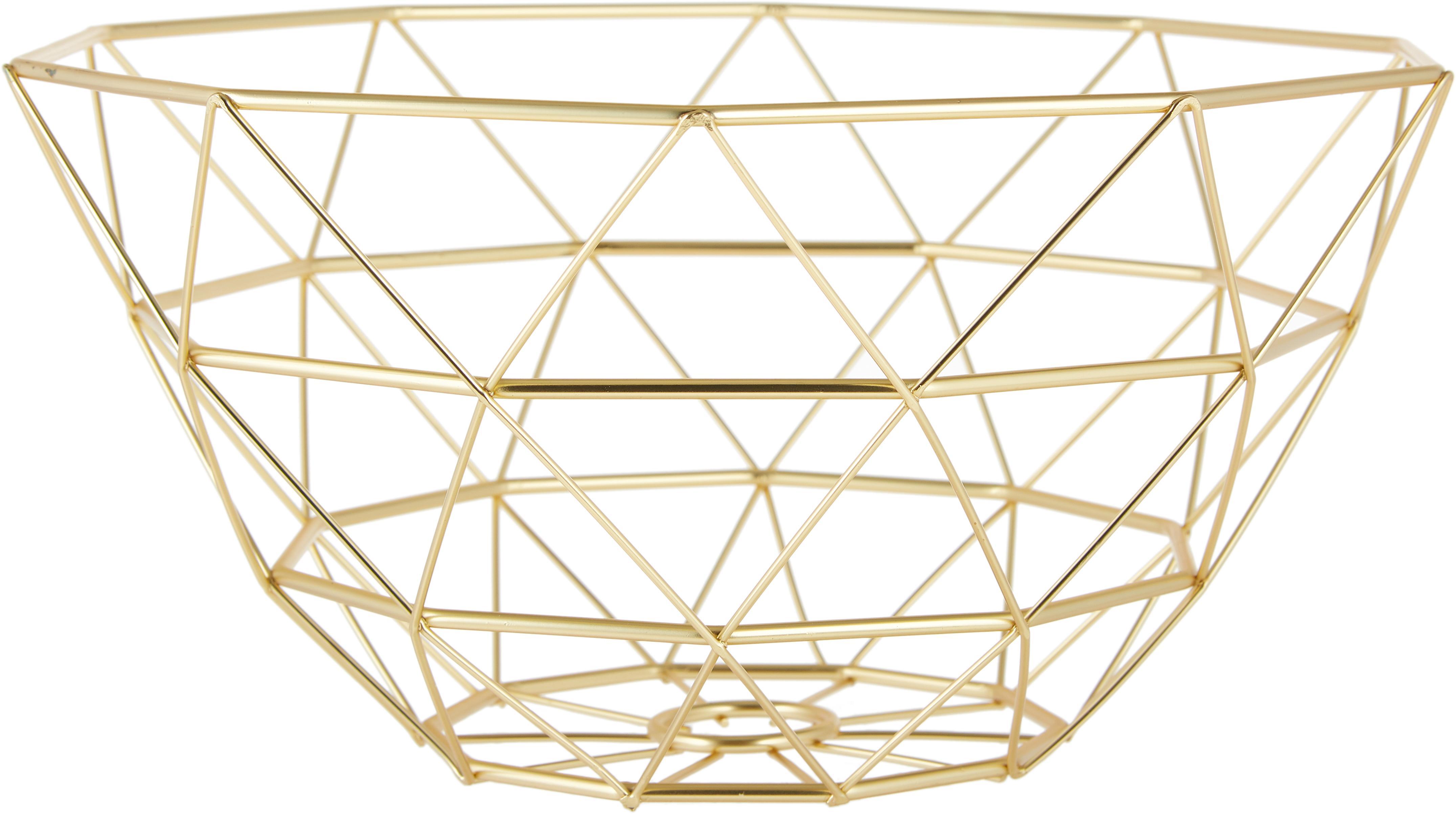 Cesta Diamond Cut, Metal, Dorado, mate, Ø 30 x Al 15 cm