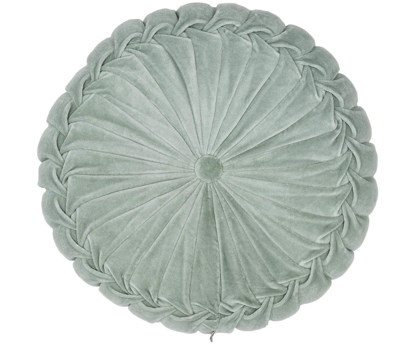 Rond fluwelen kussen Kanan met plooien, met vulling, Katoenfluweel, Mintgroen, Ø 40 x H 10 cm