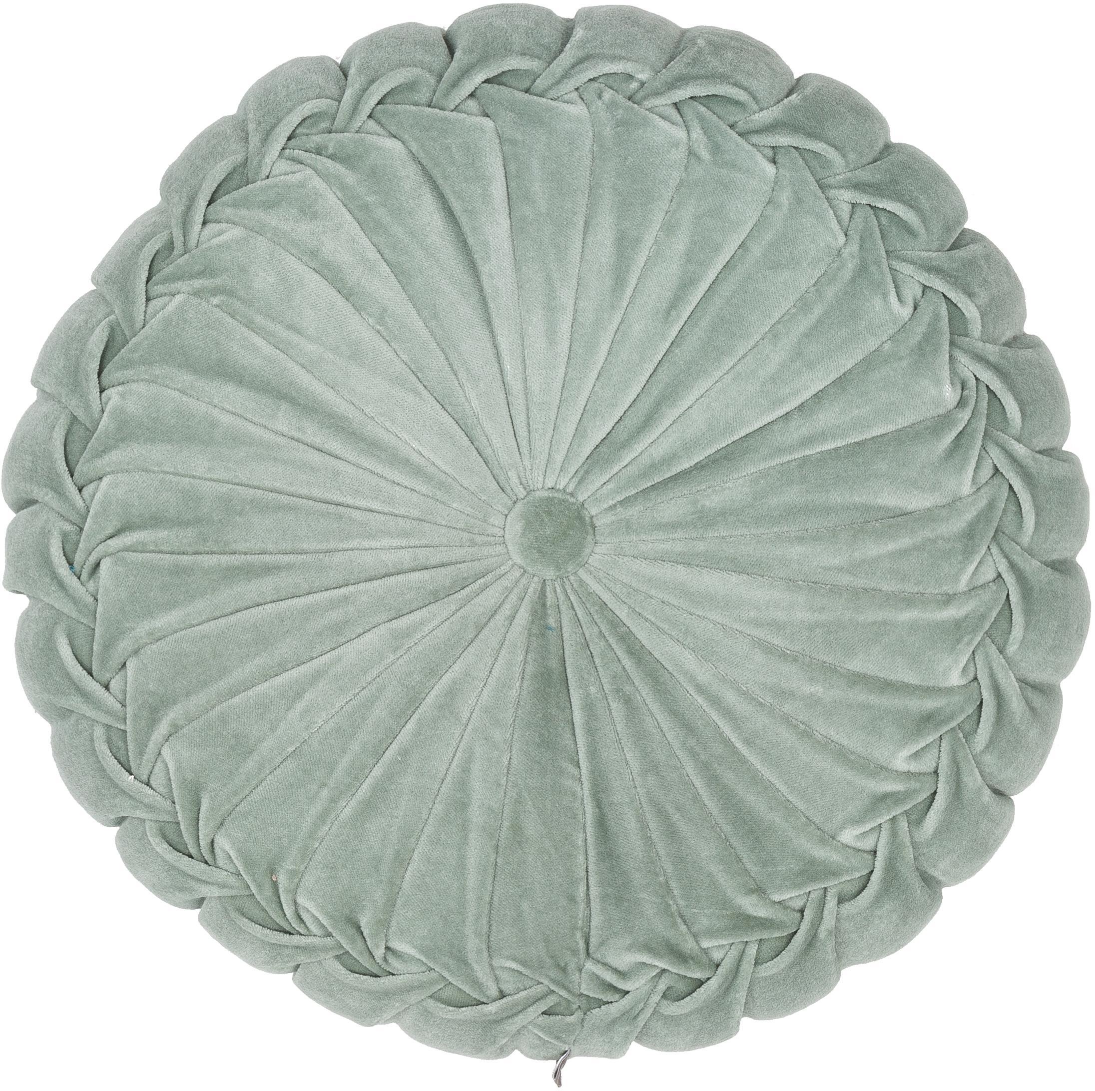 Rundes Samt-Kissen Kanan mit Raffungen, mit Inlett, 100% Baumwollsamt, Mint, Ø 40 cm