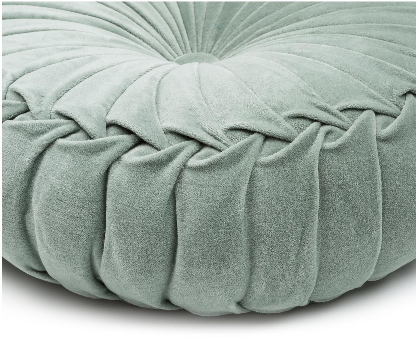 Okrągła poduszka  z aksamitu z wypełnieniem Kanan, Aksamit bawełniany, Miętowy, Ø 40 x W 10 cm