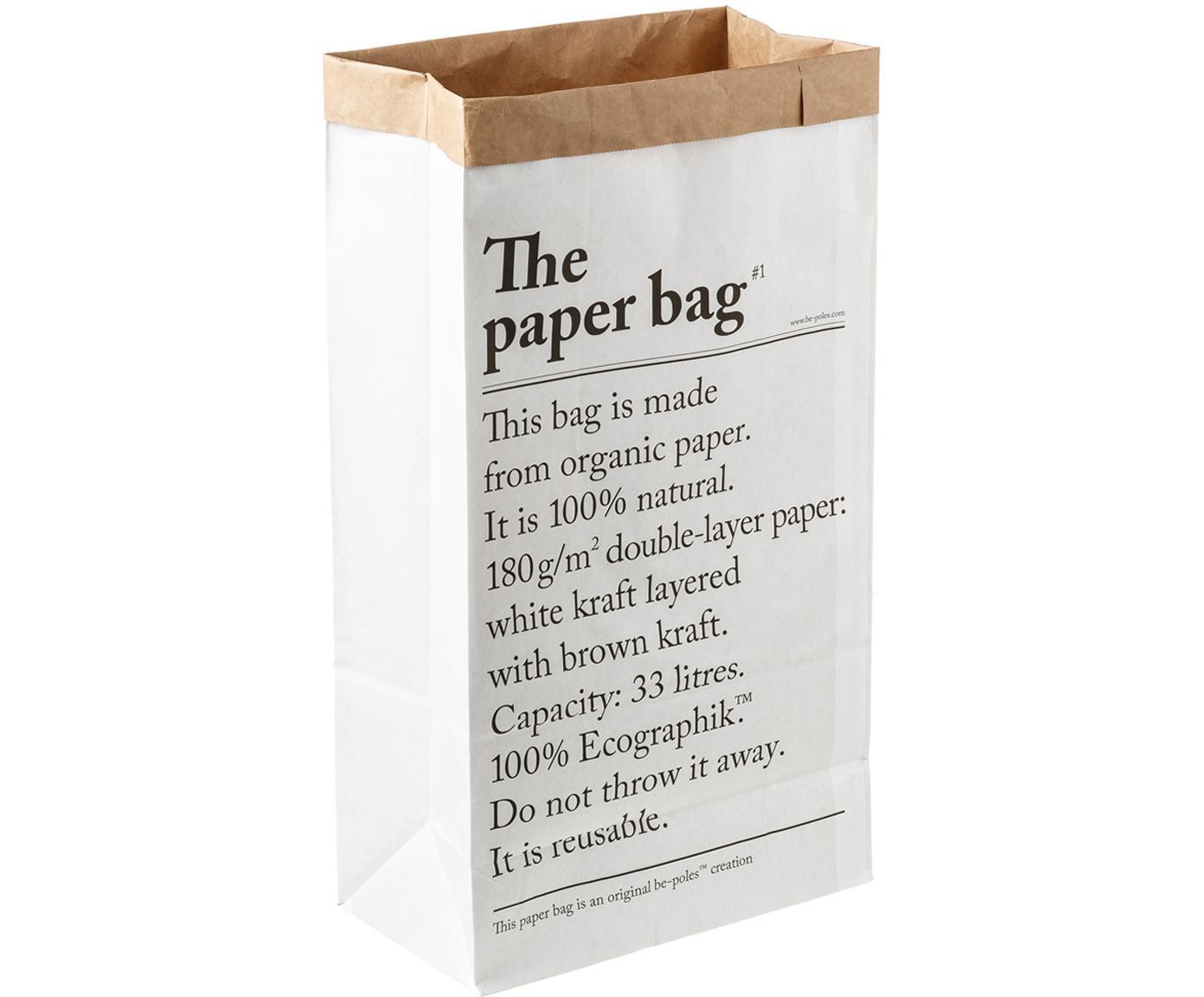 Opbergzak Le sac en papier, Gerecycled papier, Wit, 32 x 60 cm