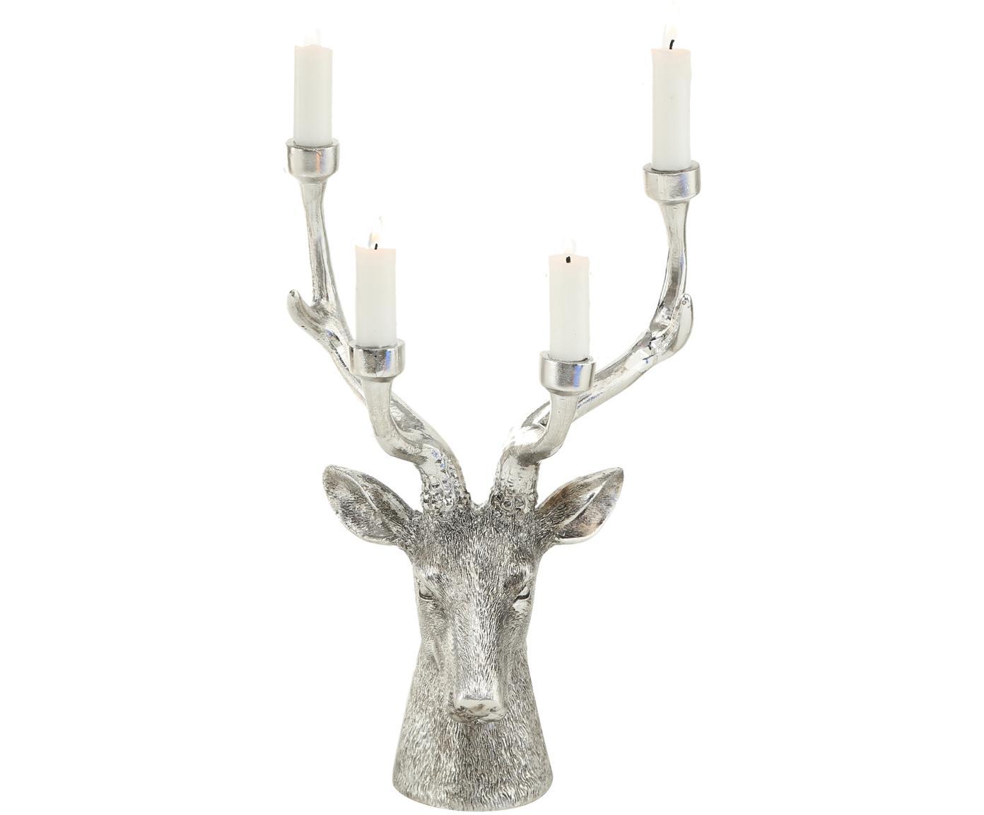 Świecznik Lobo, Żywica syntetyczna, Odcienie srebrnego, S 27 x W 33 cm