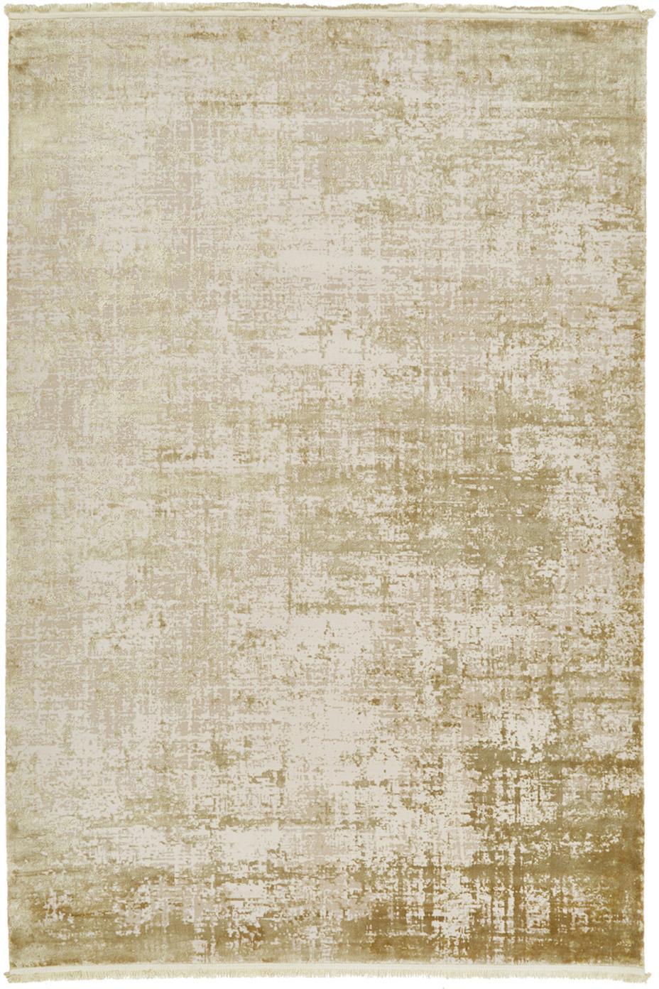 Tappeto vintage con frange effetto lucido Cordoba, Retro: cotone, Verde oliva, beige, Larg. 200 x Lung. 290 cm (taglia L)