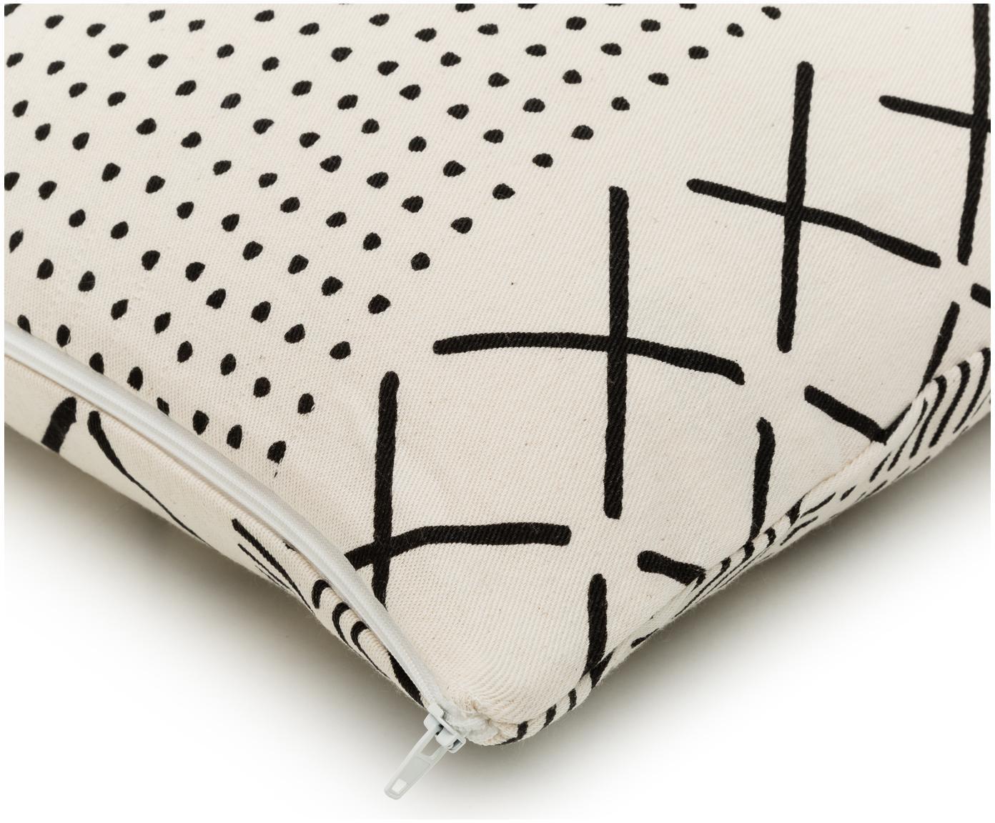 Kissenhülle Hekli mit grafischem Muster, Webart: Panama, Ecru, Schwarz, 40 x 40 cm