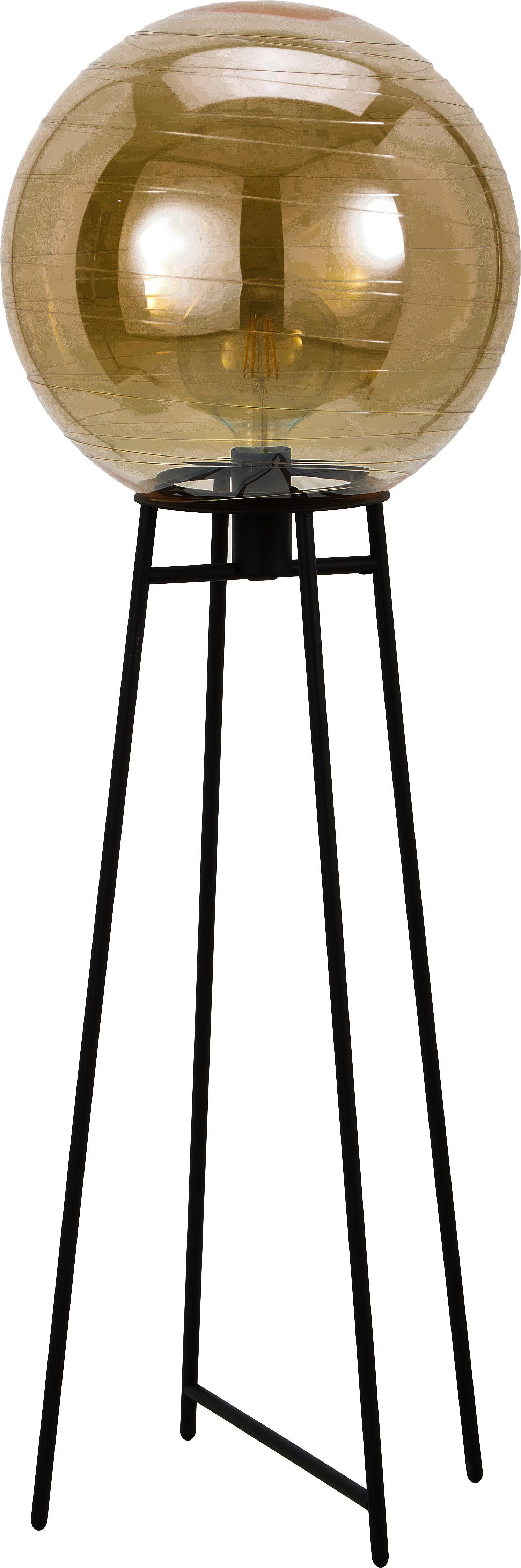 Vloerlamp Lantaren van glas, Lampenkap: glas, Lampvoet: gelakt metaal, Amberkleurig, zwart, Ø 37 x H 117 cm