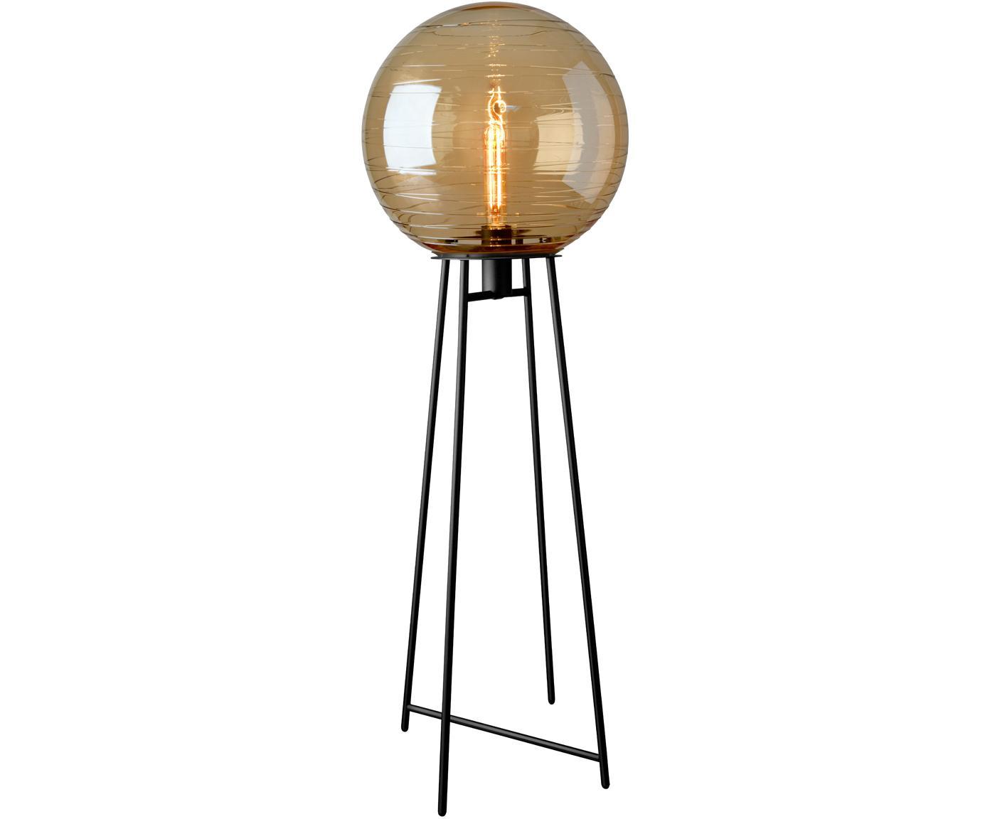 Lampada da terra in vetro Lantaren, Paralume: vetro, Base della lampada: metallo verniciato, Ambra, nero, Ø 37 x Alt. 117 cm
