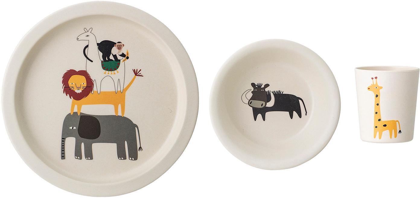 Frühstück-Set Safari, 3-tlg., Bambus, Mais, Melamin, Holz, Polyresin, Mehrfarbig, Ø 21 cm