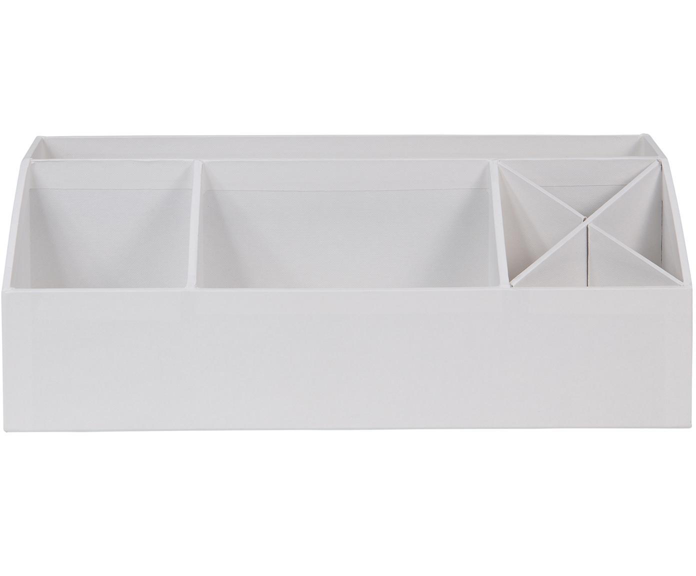 Organizador de escritorio Elisa, Cartón laminado, Blanco, An 33 x Al 13 cm