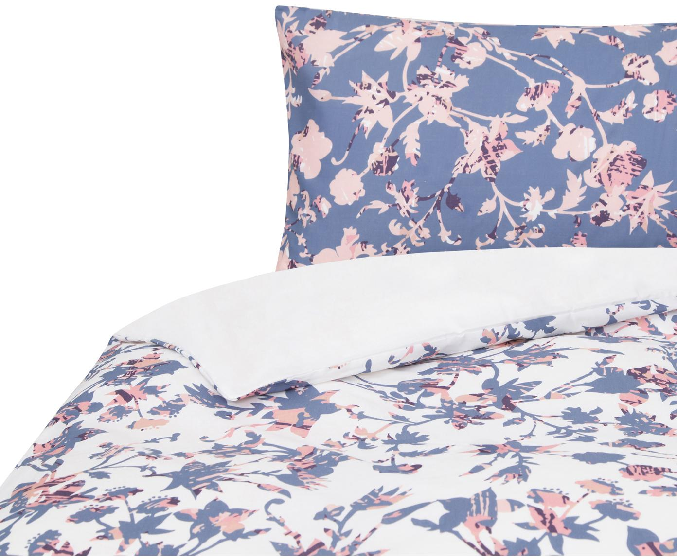 Funda nórdica doble cara Lines , Algodón, Blanco, azul, tonos rosas, Cama 90 cm (160 x 220 cm)