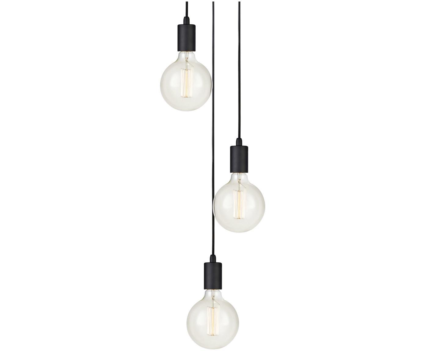 Lámpara de techo Sky, Cable: cubierto en tela, Negro, Ø 25 x Al 12 cm