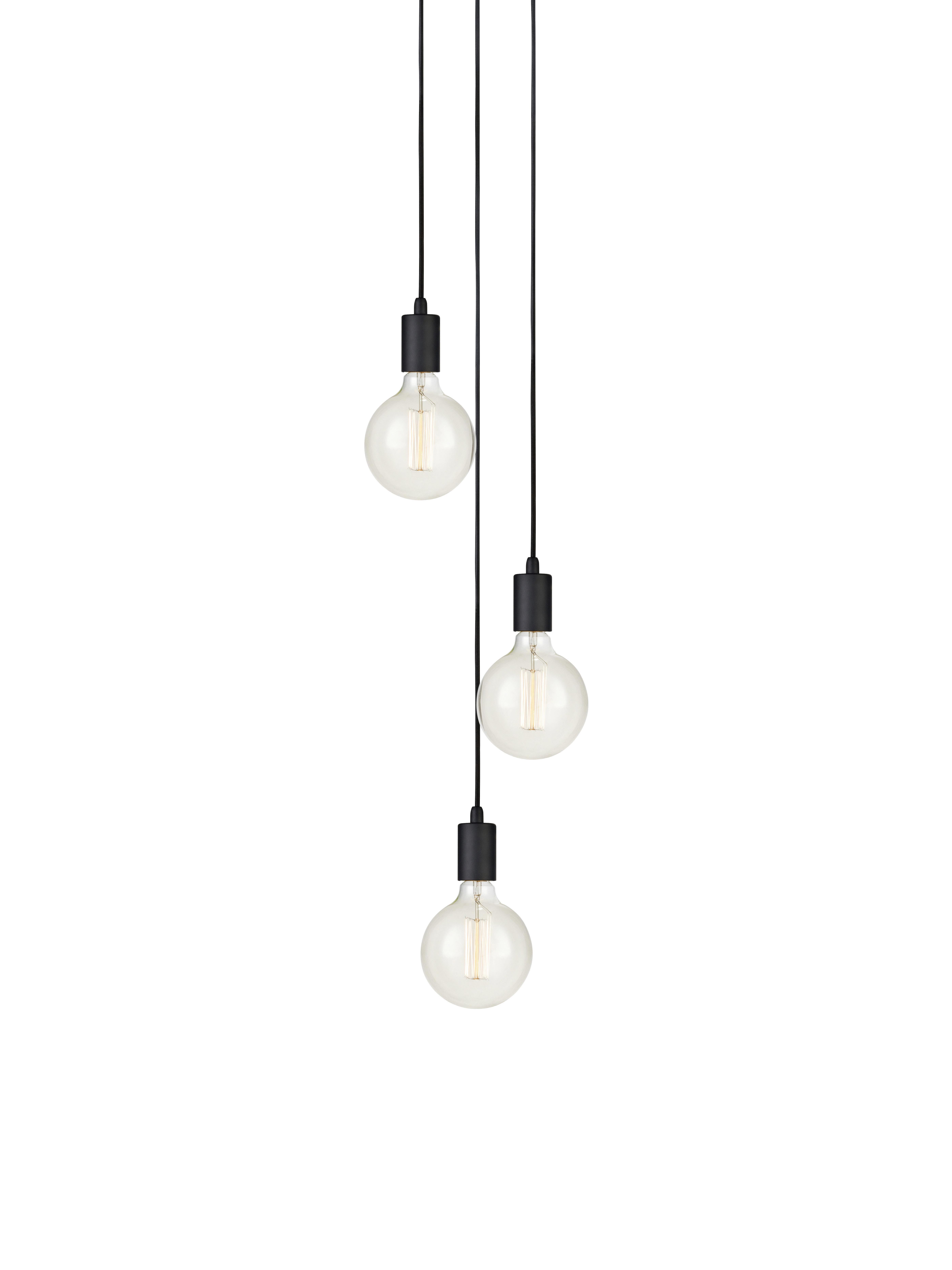 Lampada a sospensione nera Sky, Nero, Ø 25 x Alt. 150 cm