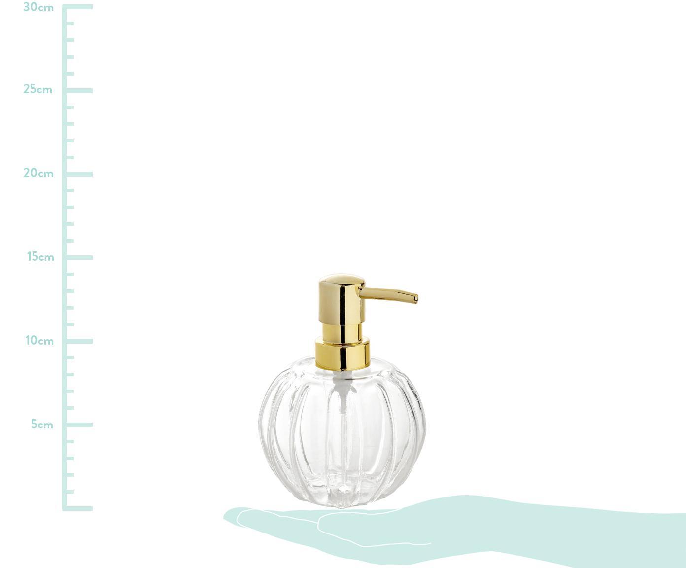 Seifenspender Stripes, Behälter: Glas, Pumpkopf: Kunststoff, Transparent, Messingfarben, Ø 10 x H 15 cm