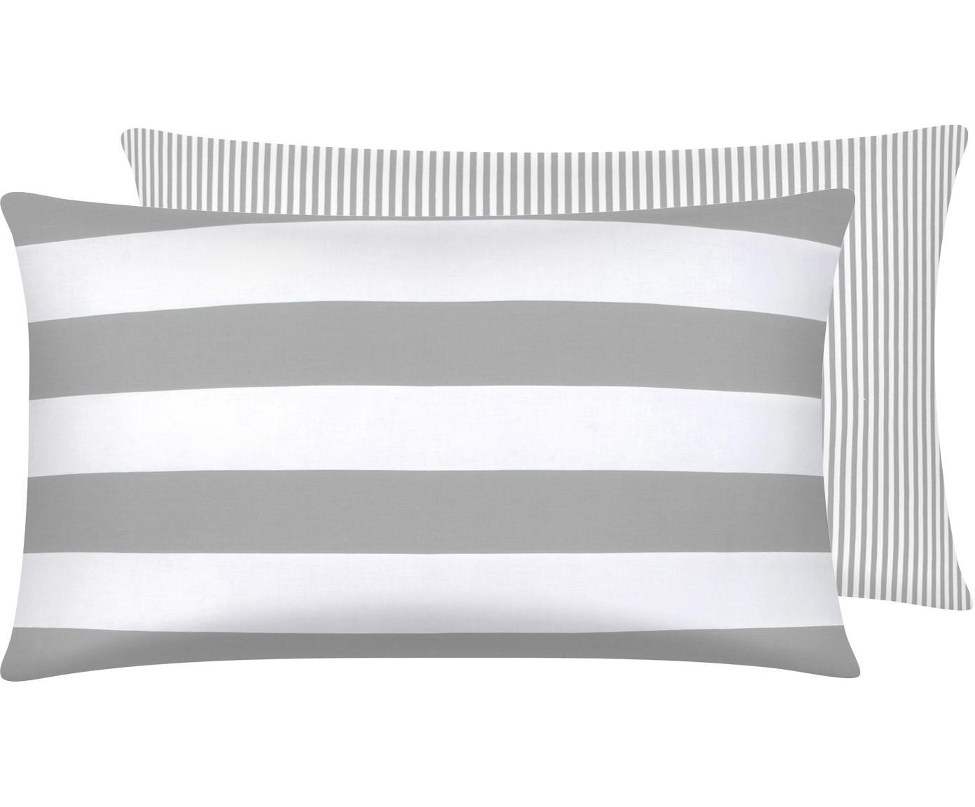Funda de almohada de tejido renforcé Lorena, caras distintas, Gris claro, crema, An 50 x L 70 cm