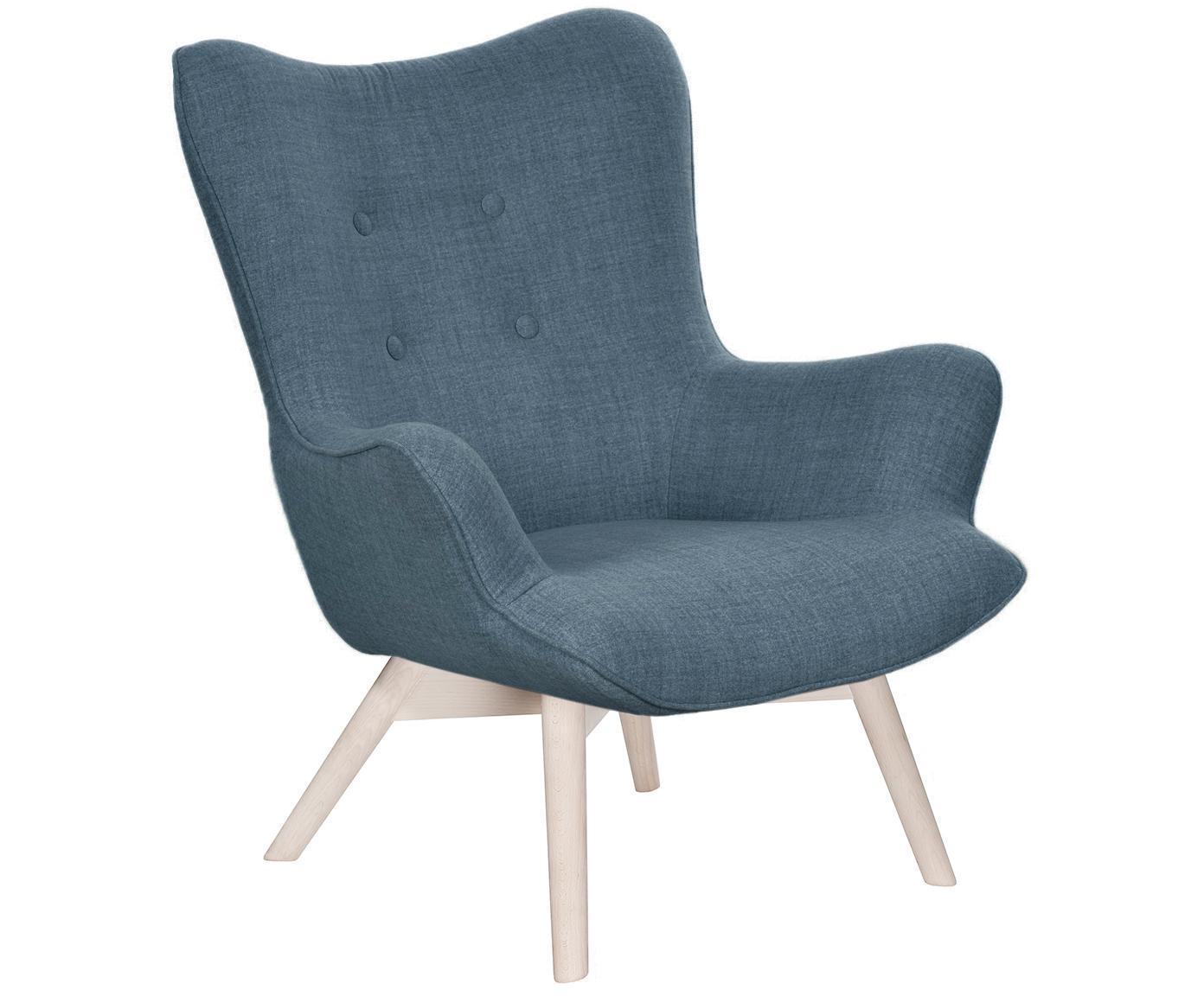 Fauteuil Twirl, Frame: Hout, Poten: Beukenhout, Hoes: Blauw. Poten: Beukenhout, wit gewassen, 82 x 96 cm