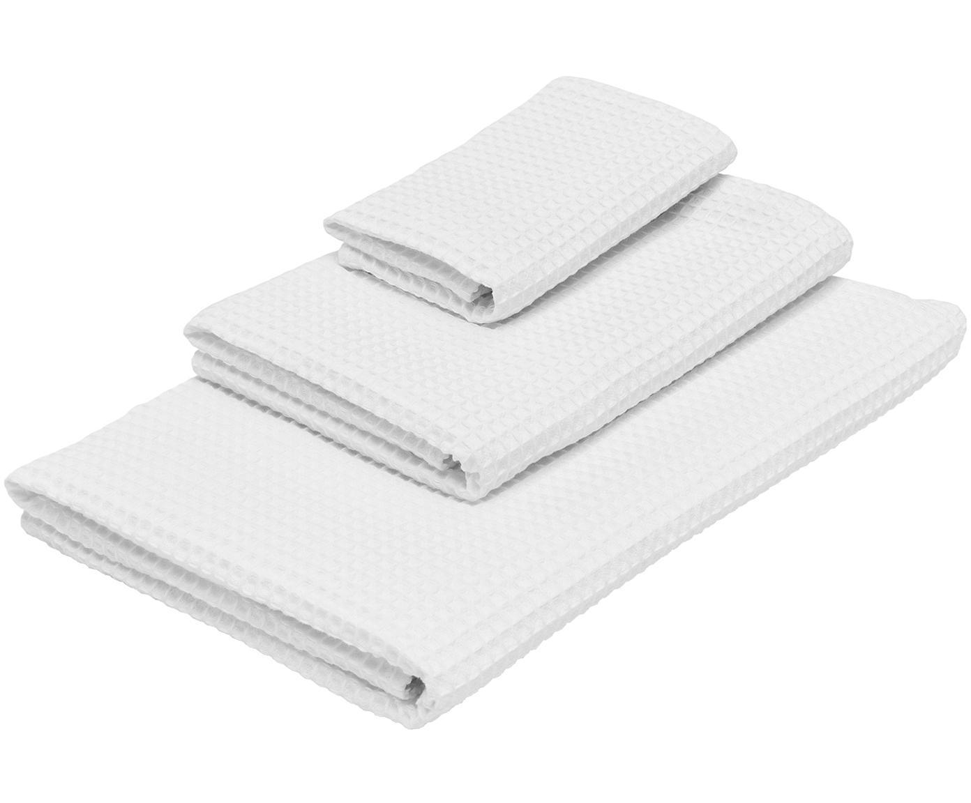 Set 3 asciugamani  a nido d'ape Karima, Bianco, Diverse dimensioni