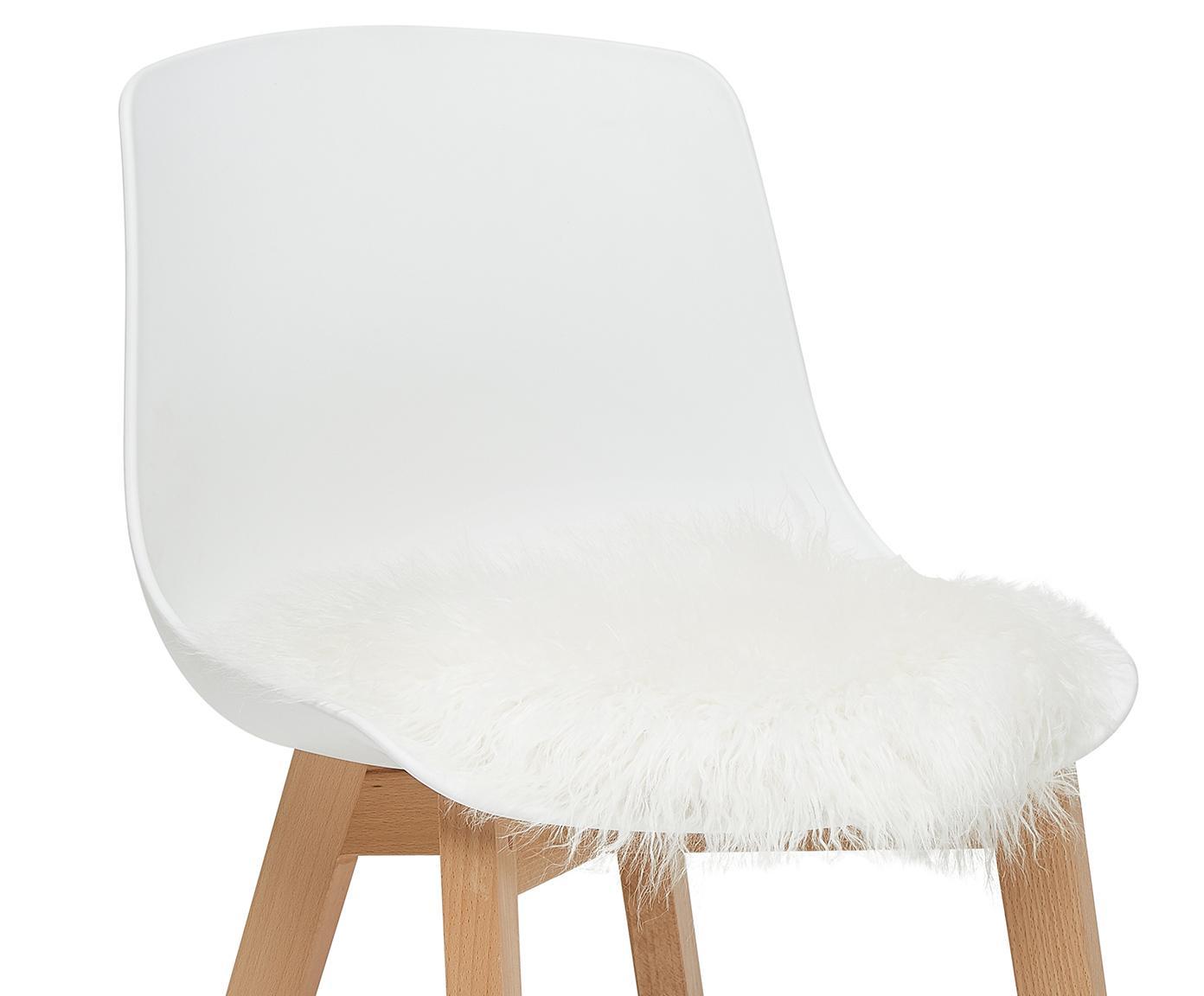 Runde Kunstfell-Sitzauflage Morten, gelockt, Vorderseite: 67% Akryl, 33% Polyester, Rückseite: 100% Polyester, Creme, Ø 37 cm