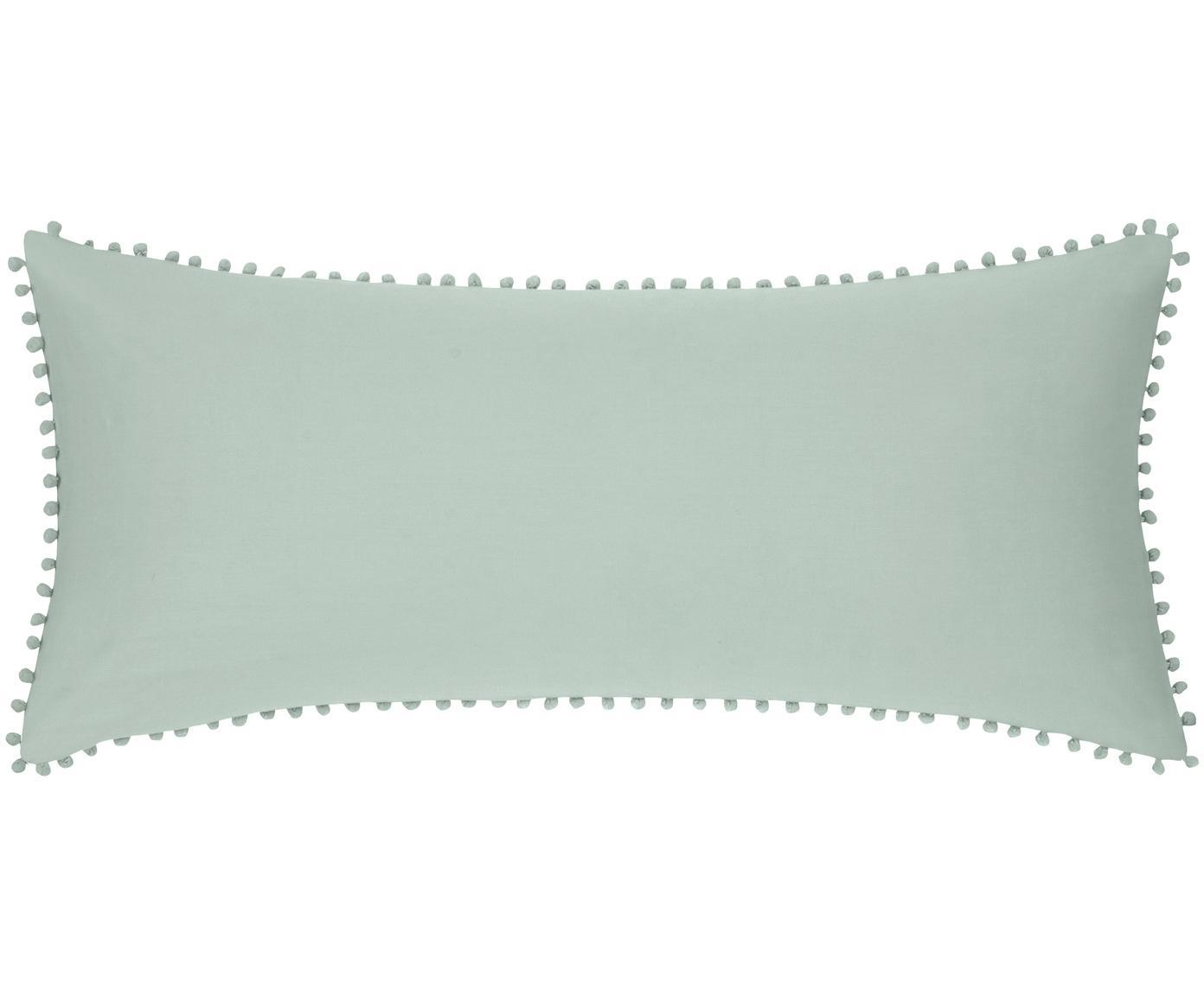 Baumwollperkal-Kissenbezüge Bommy mit Pompoms, 2 Stück, Webart: Perkal Fadendichte 200 TC, Salbeigrün, 40 x 80 cm