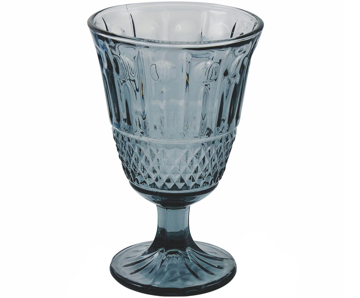 Wijnglazenset Elegance in blauw, 6-delig, Glas, Blauw, Ø 9 x H 14 cm