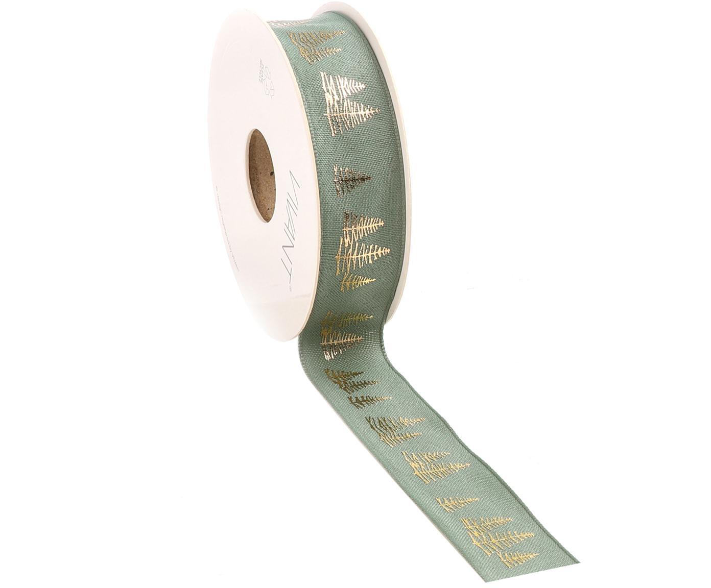 Wstążka na prezent Fir, Poliester, Szałwiowy zielony, odcienie złotego, S 3 x D 1500 cm