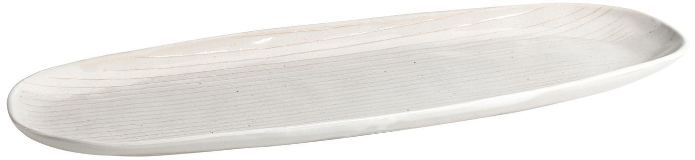 Ręcznie wykonany półmisek Copenhagen, Kamionka, Kość słoniowa z cienkimi, jasny beżowymi paskami, S 36 x G 15 cm