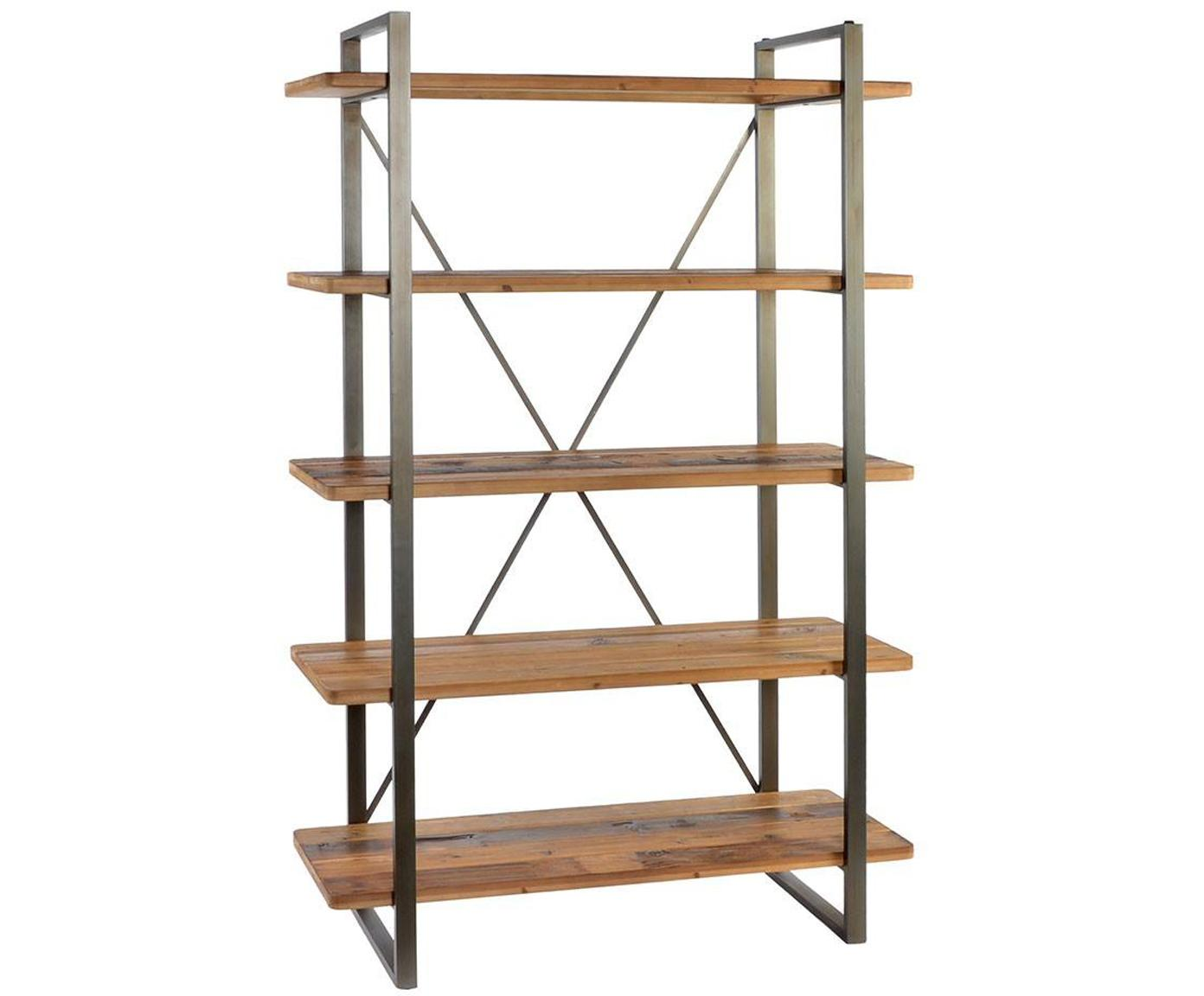 Estantería Angela, Estructura: metal, Estantes: madera de abeto, Marrón, An 120 x Al 186 cm