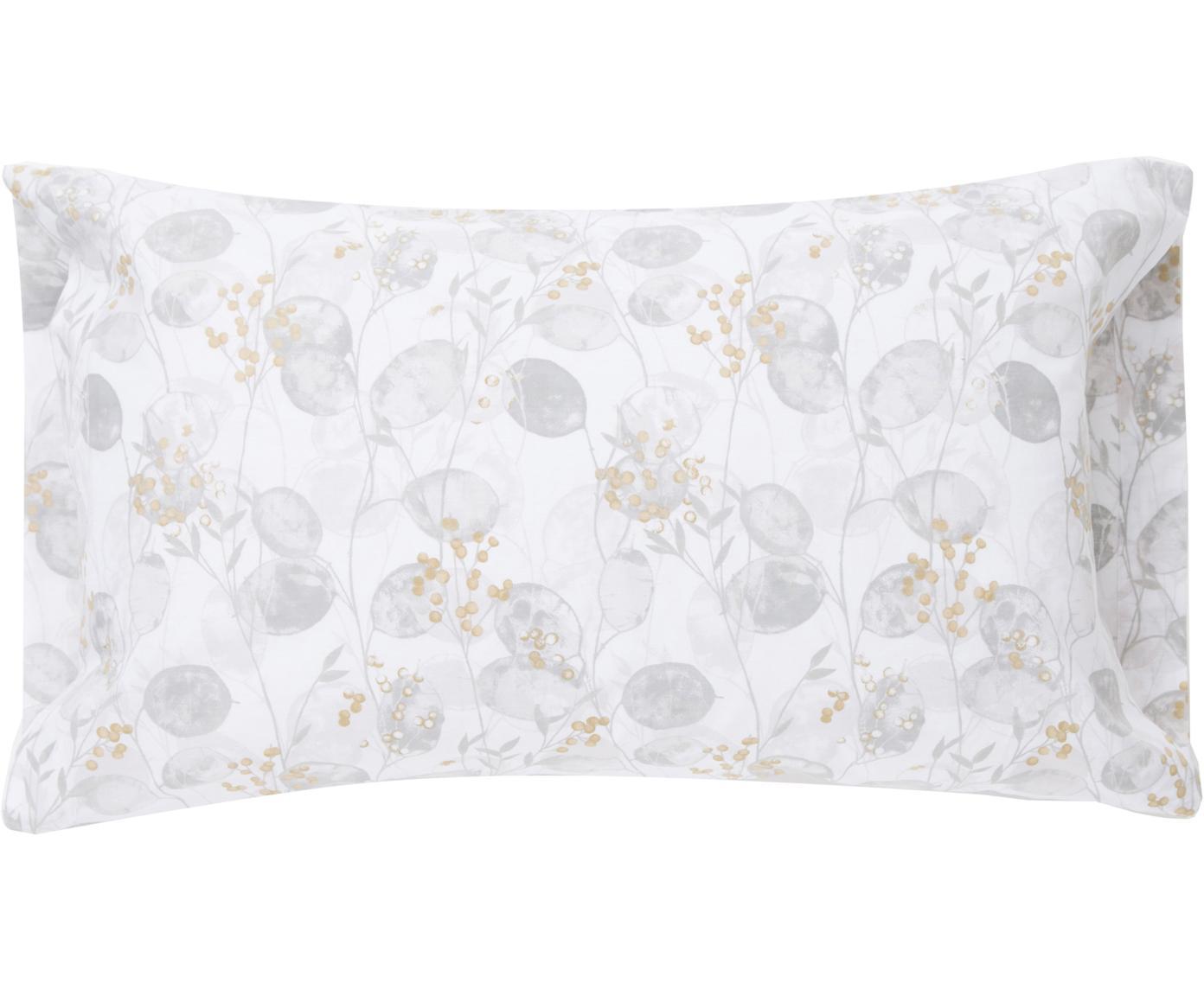 Fundas de almohada Honesty, 2uds., Algodón, Tonos grises, amarillo, An 50 x L 85 cm
