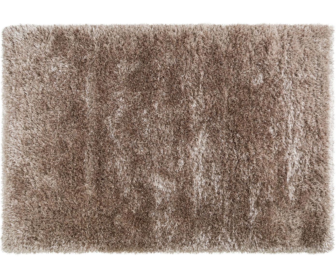 Glanzend hoogpolig vloerkleed Lea, 50% polyester, 50% polypropyleen, Beige, B 140 x L 200 cm (maat S)