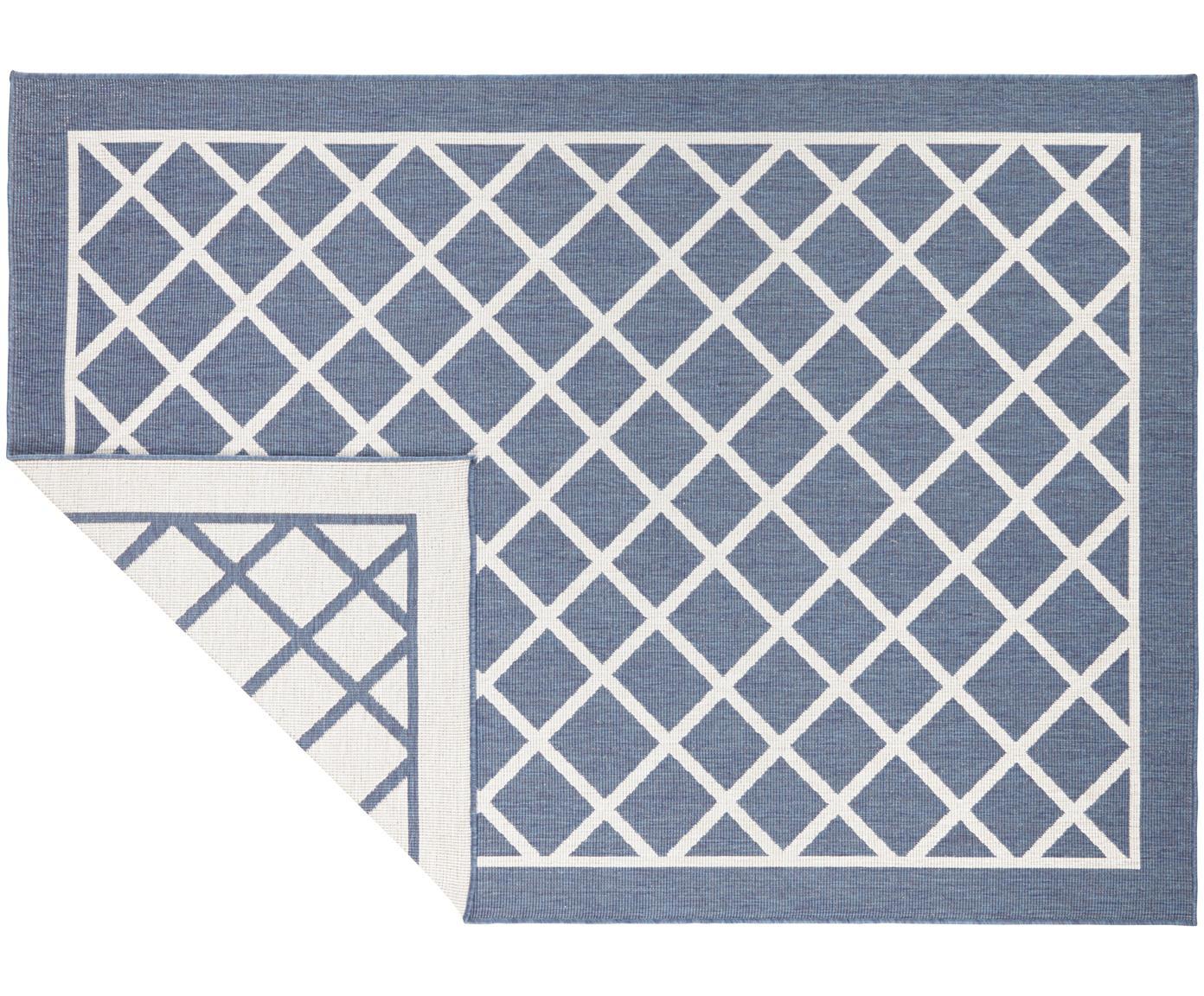 In- und Outdoor-Wendeteppich Sydney mit Rautenmuster in Blau/Creme, Blau, Creme, B 120 x L 170 cm (Größe S)