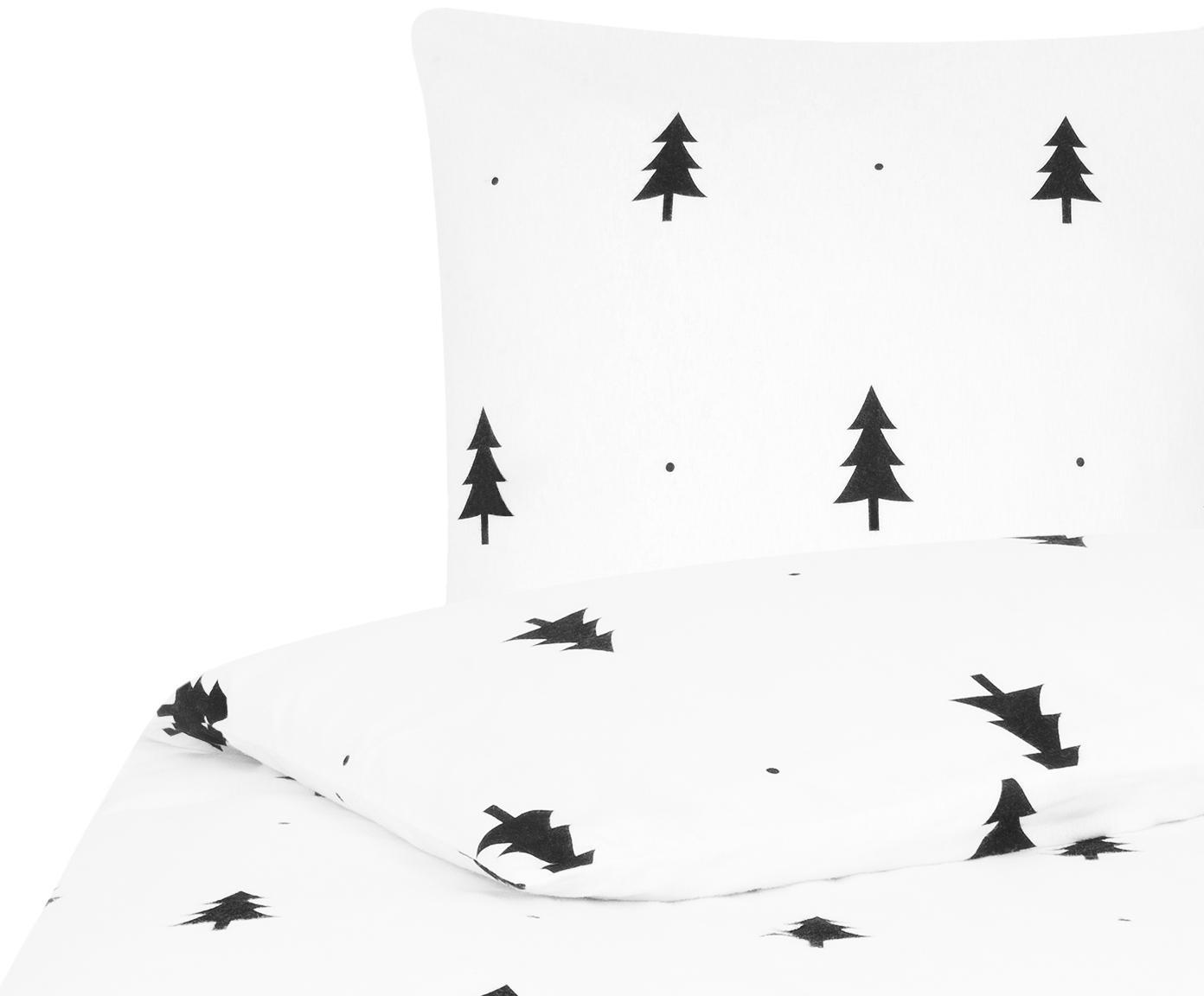 Flanell-Bettwäsche X-mas Tree in Weiß/Schwarz, Webart: Flanell Flanell ist ein s, Weiß, Schwarz, 155 x 220 cm + 1 Kissen 80 x 80 cm