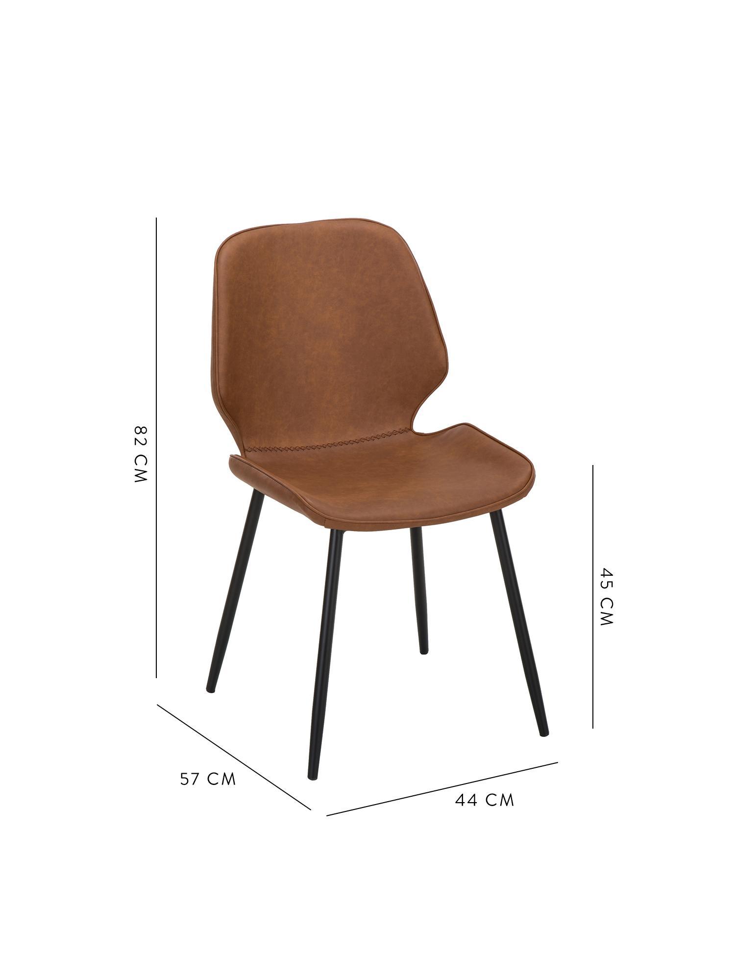 Kunstleder-Polsterstühle Louis, 2 Stück, Bezug: Kunstleder (65% Polyethyl, Beine: Metall, pulverbeschichtet, Cognac, B 44 x T 57 cm