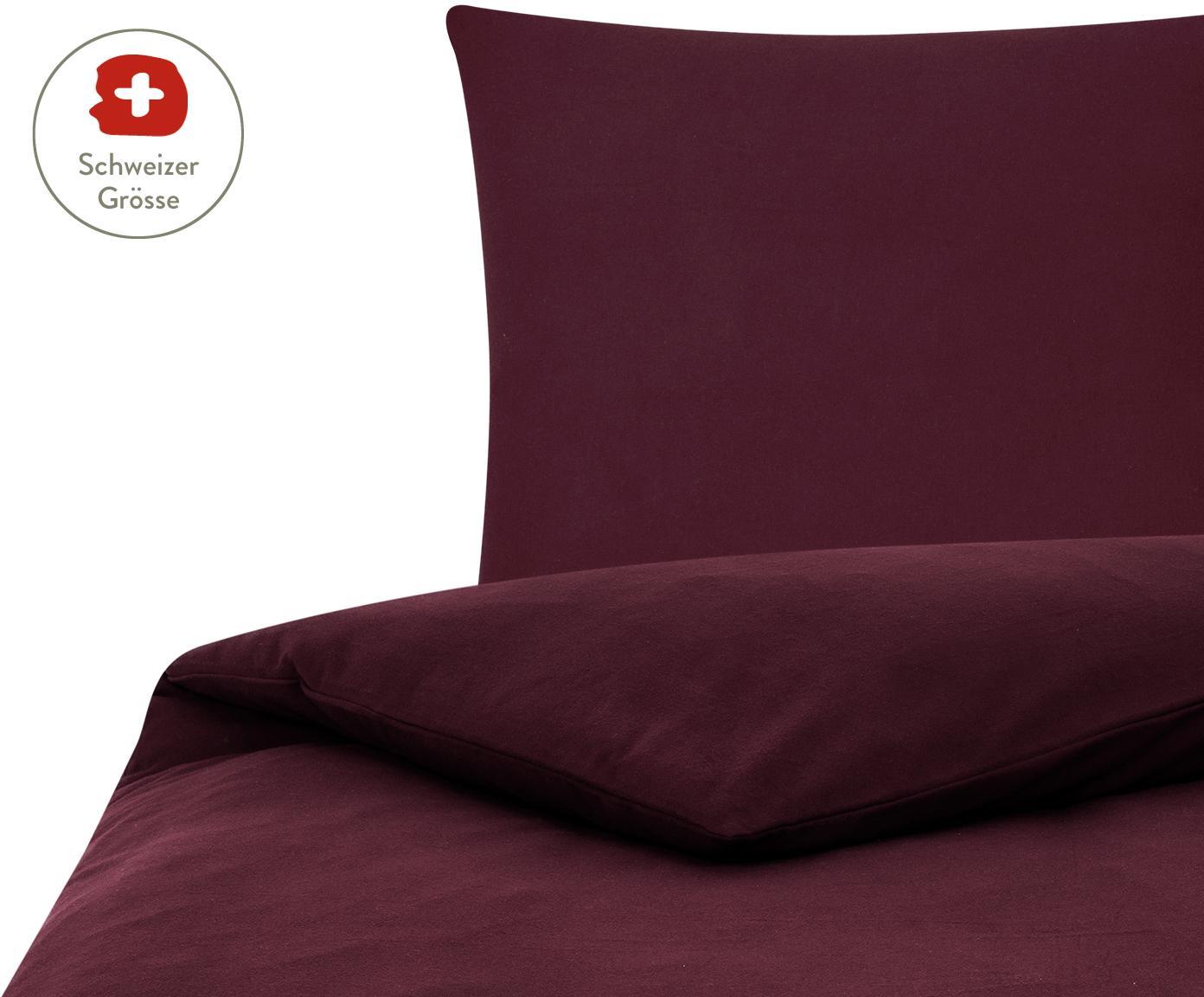 Flanell-Bettdeckenbezug Erica in Dunkelrot, Webart: Flanell, Dunkelrot, 160 x 210 cm