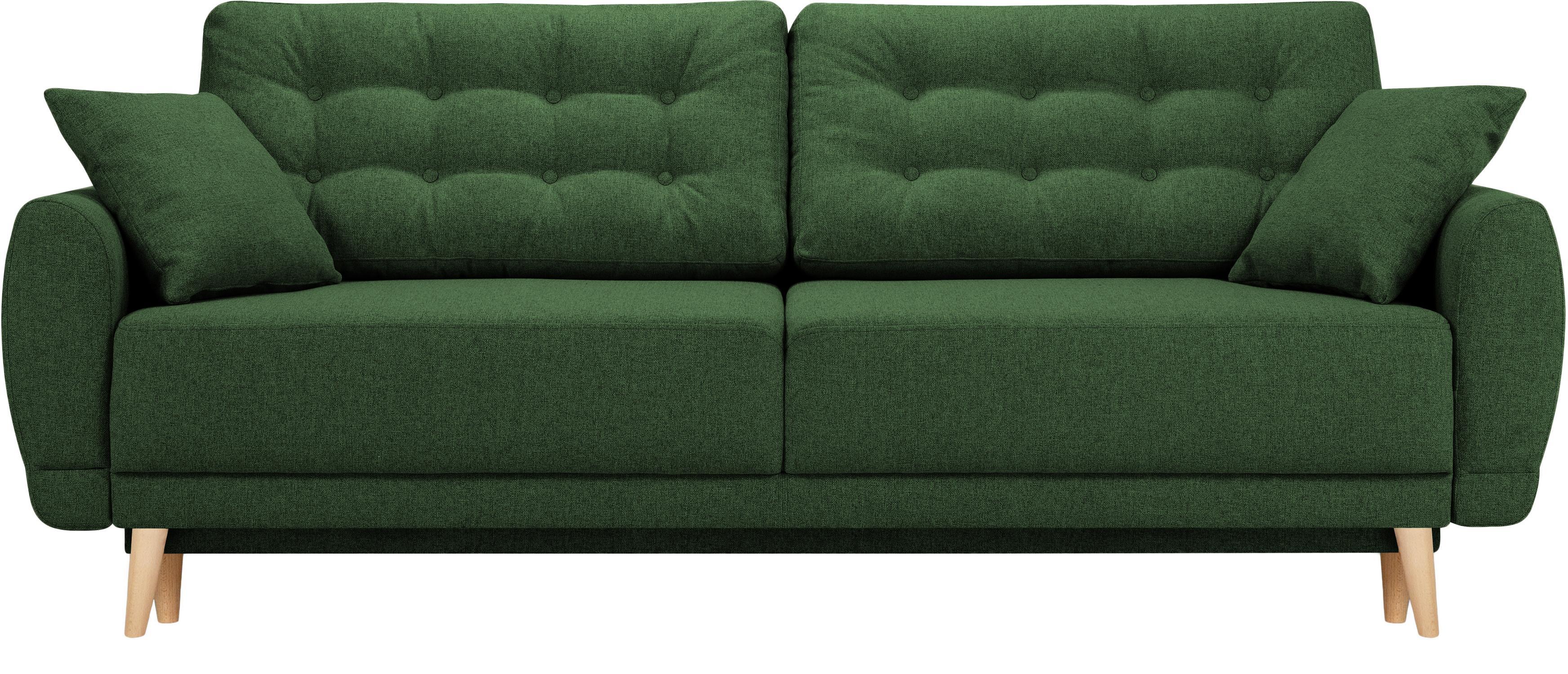 Sofa rozkładana Spinel (3-osobowa), Tapicerka: poliester Dzięki tkaninie, Nogi: drewno brzozowe, Zielony, S 236 x G 93 cm