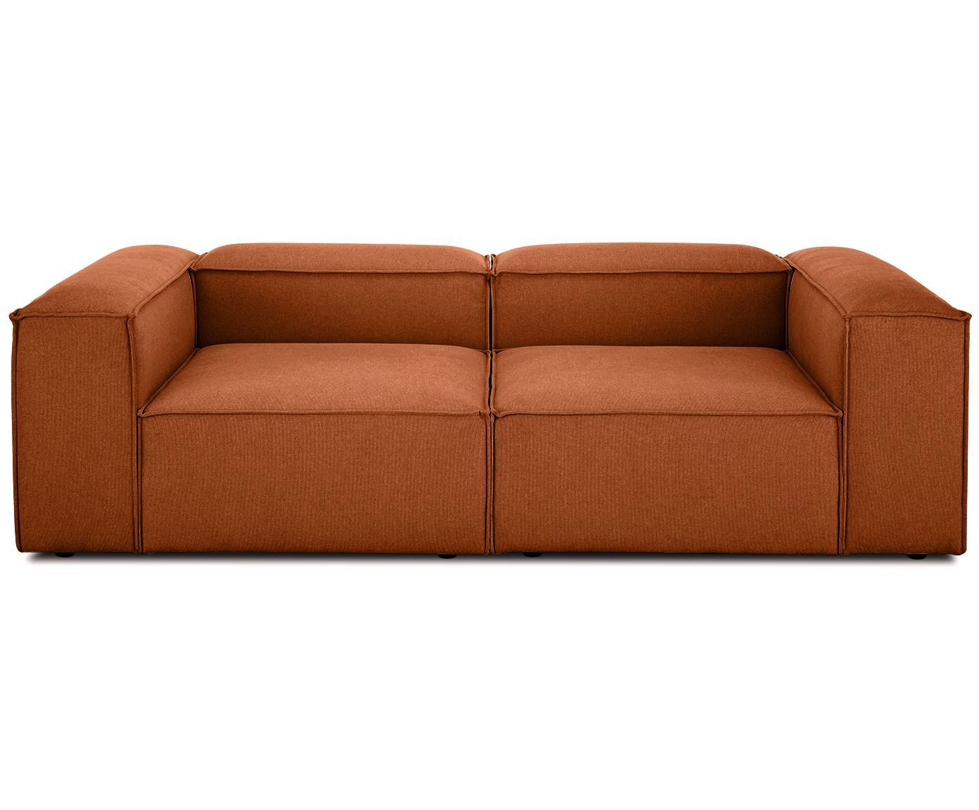 Modulares Sofa Lennon (3-Sitzer), Bezug: Polyester 35.000 Scheuert, Gestell: Massives Kiefernholz, Spe, Webstoff Terrakotta, B 238 x T 119 cm