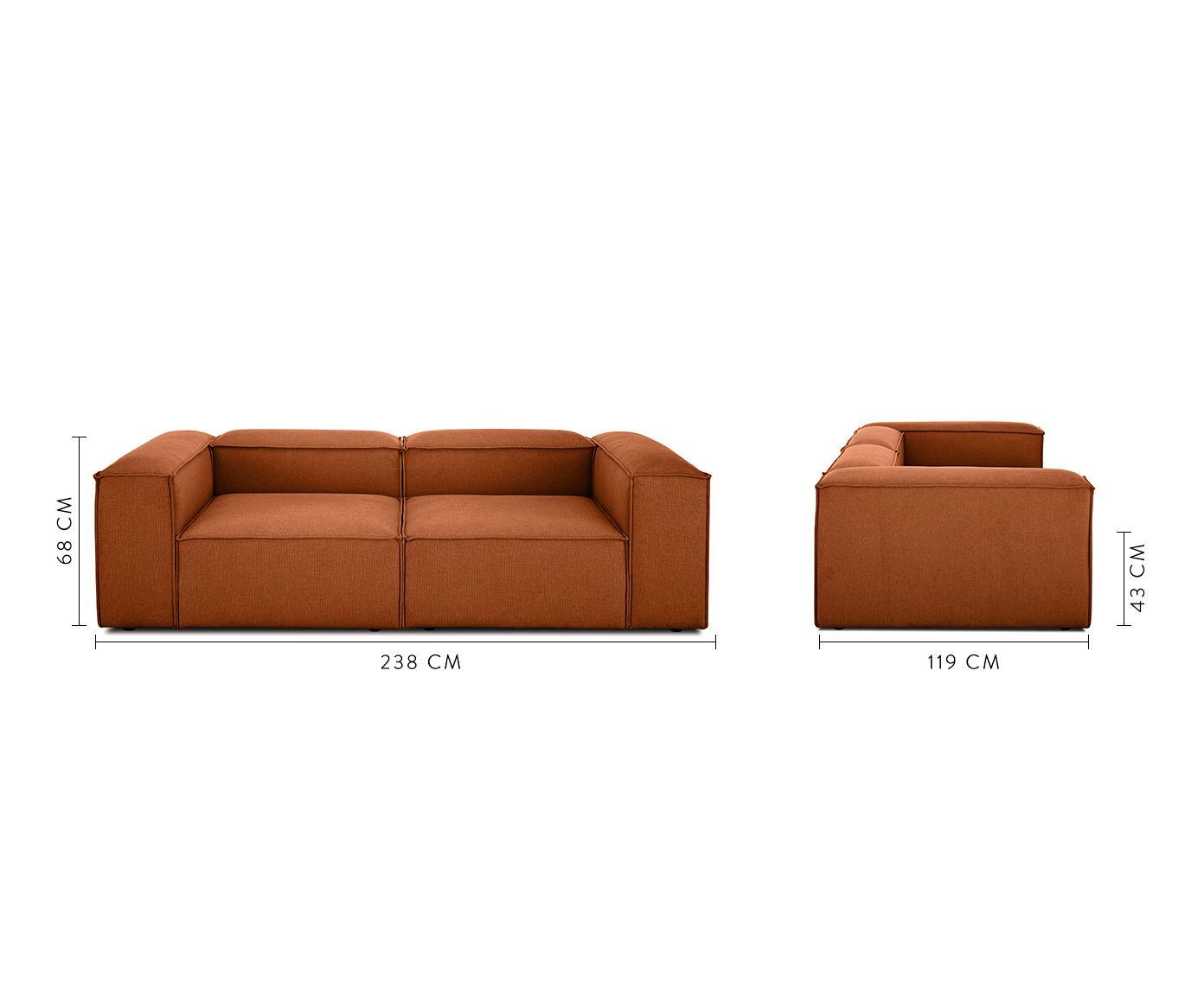 Sofa modułowa Lennon (3-osobowa), Tapicerka: poliester 35 000 cykli w , Stelaż: lite drewno sosnowe, skle, Nogi: tworzywo sztuczne, Tkanina terakota, S 238 x G 119 cm