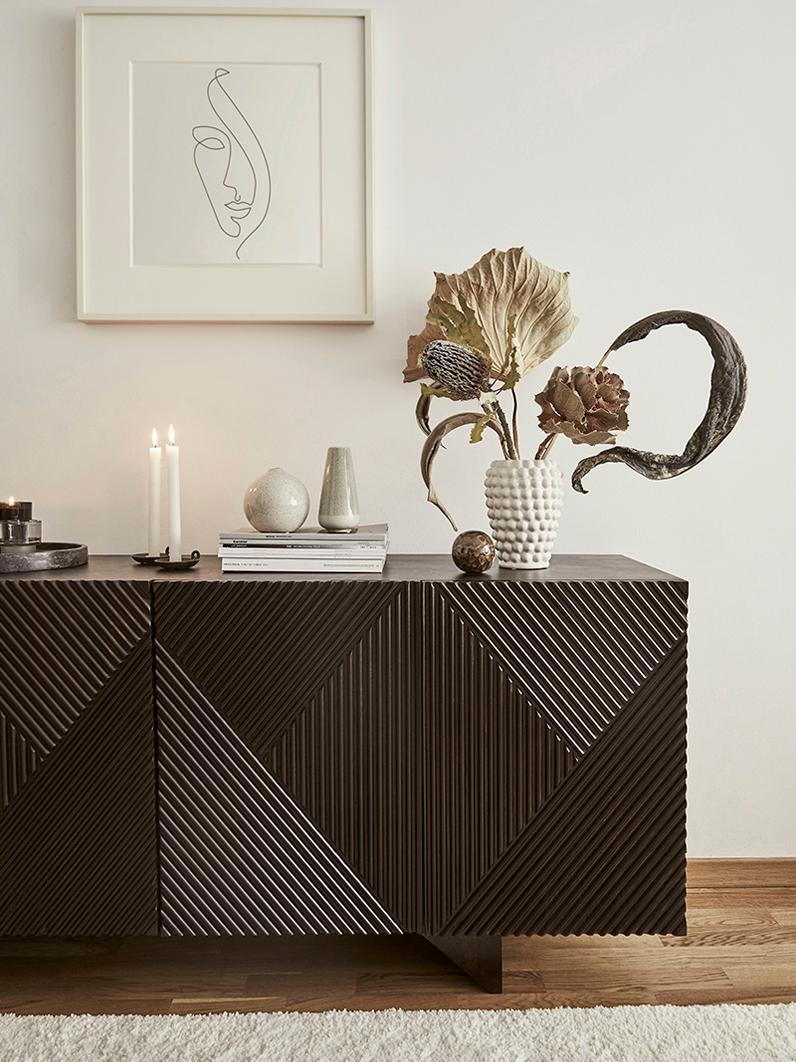 Decoratieve vaas Dotty van keramiek, Geglazuurde en niet waterdichte keramiek, Ivoorkleurig, Ø 14 x H 20 cm
