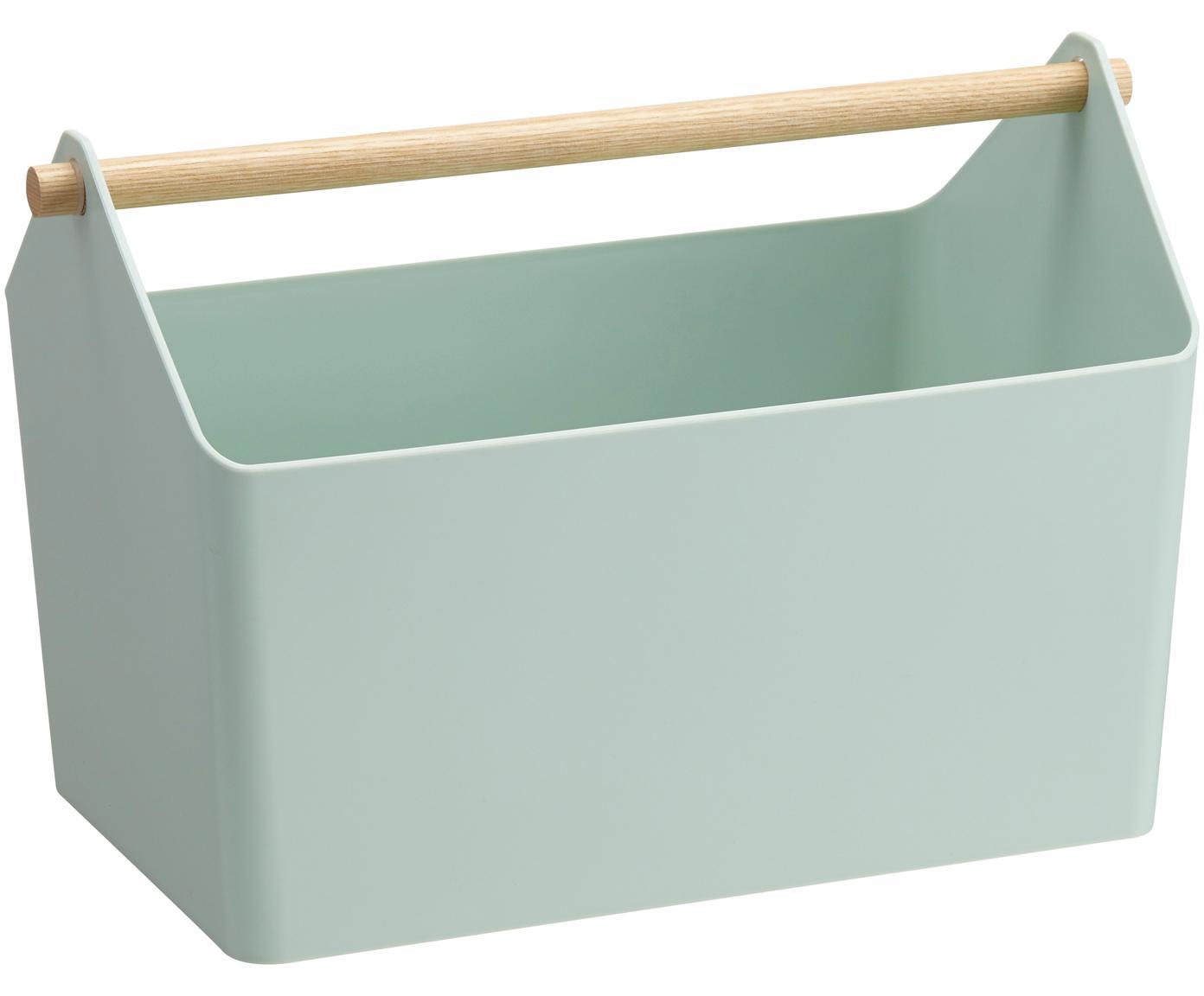 Cesta Favori, Cesta: polipropileno, Asa: madera, Verde menta, marrón, An 37 x Al 24 cm