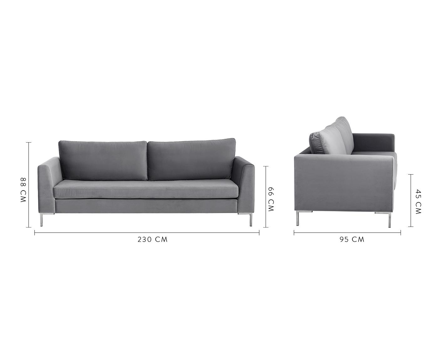 Samt-Sofa Luna (3-Sitzer), Bezug: Samt (Polyester) 80.000 S, Gestell: Massives Buchenholz, Füße: Metall, galvanisiert, Samt Dunkelgrau, Silber, B 230 x T 95 cm
