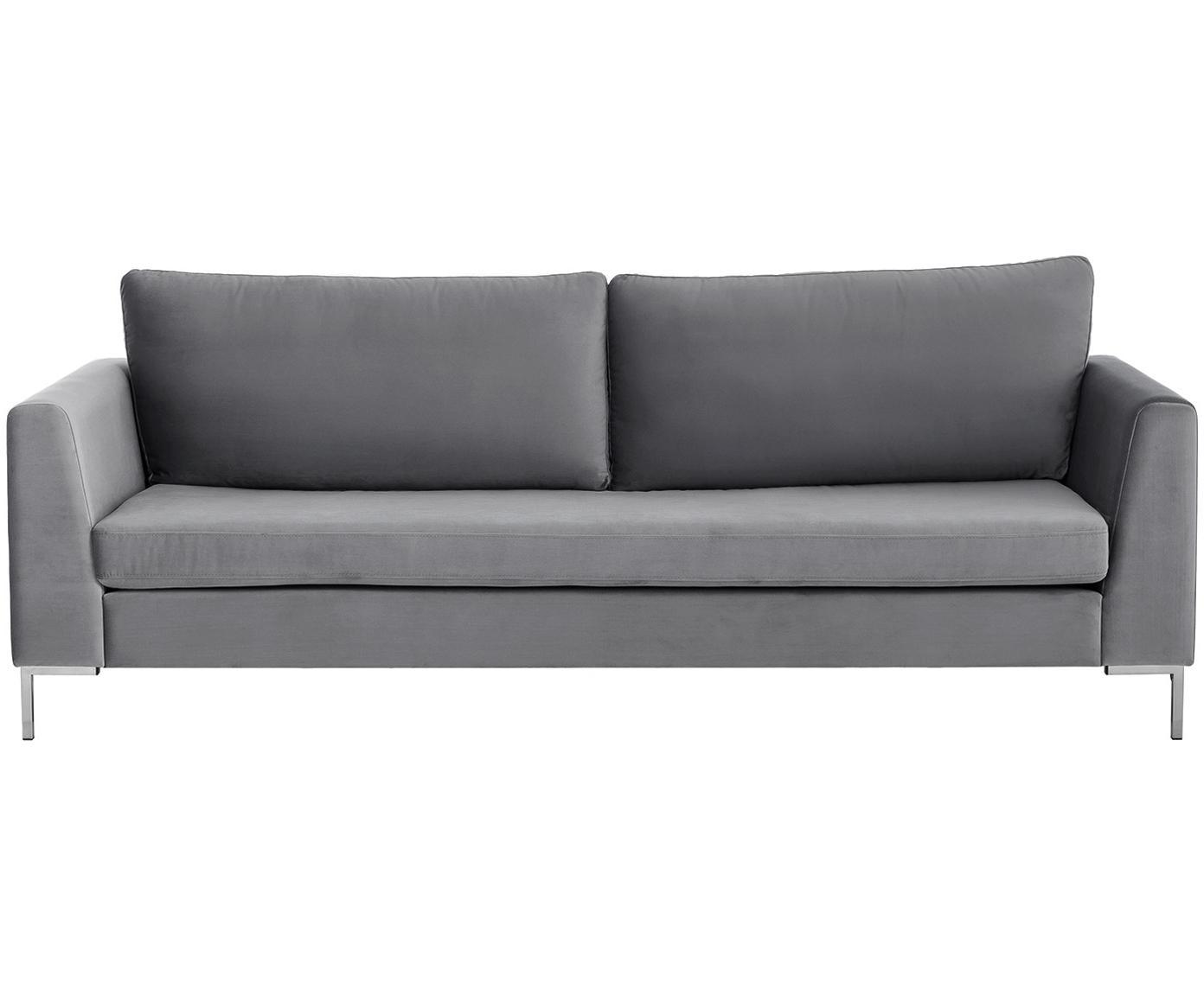 Sofa z aksamitu Luna (3-osobowa), Tapicerka: aksamit (poliester) 8000, Stelaż: lite drewno bukowe, Nogi: metal galwanizowany, Ciemnyszary, S 230 x G 95 cm