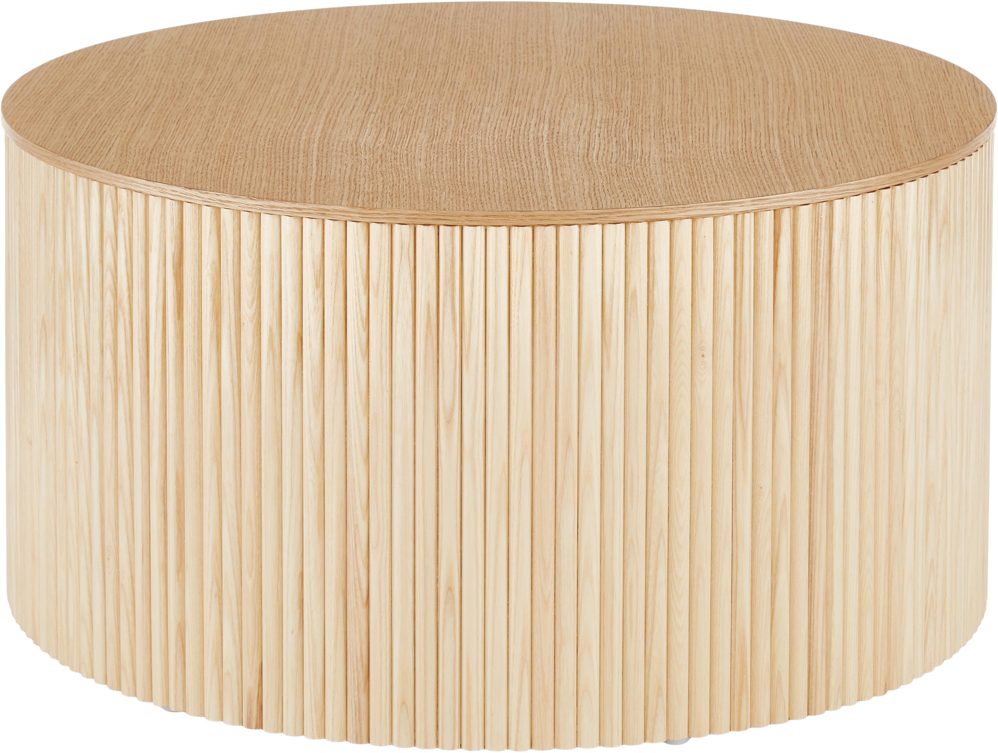 Mesa de centro Nele, con espacio de almacenamiento, Tablero de fibras de densidad media(MDF) chapado en madera de fresno, Chapa de fresno, Ø 70 x Al 36 cm