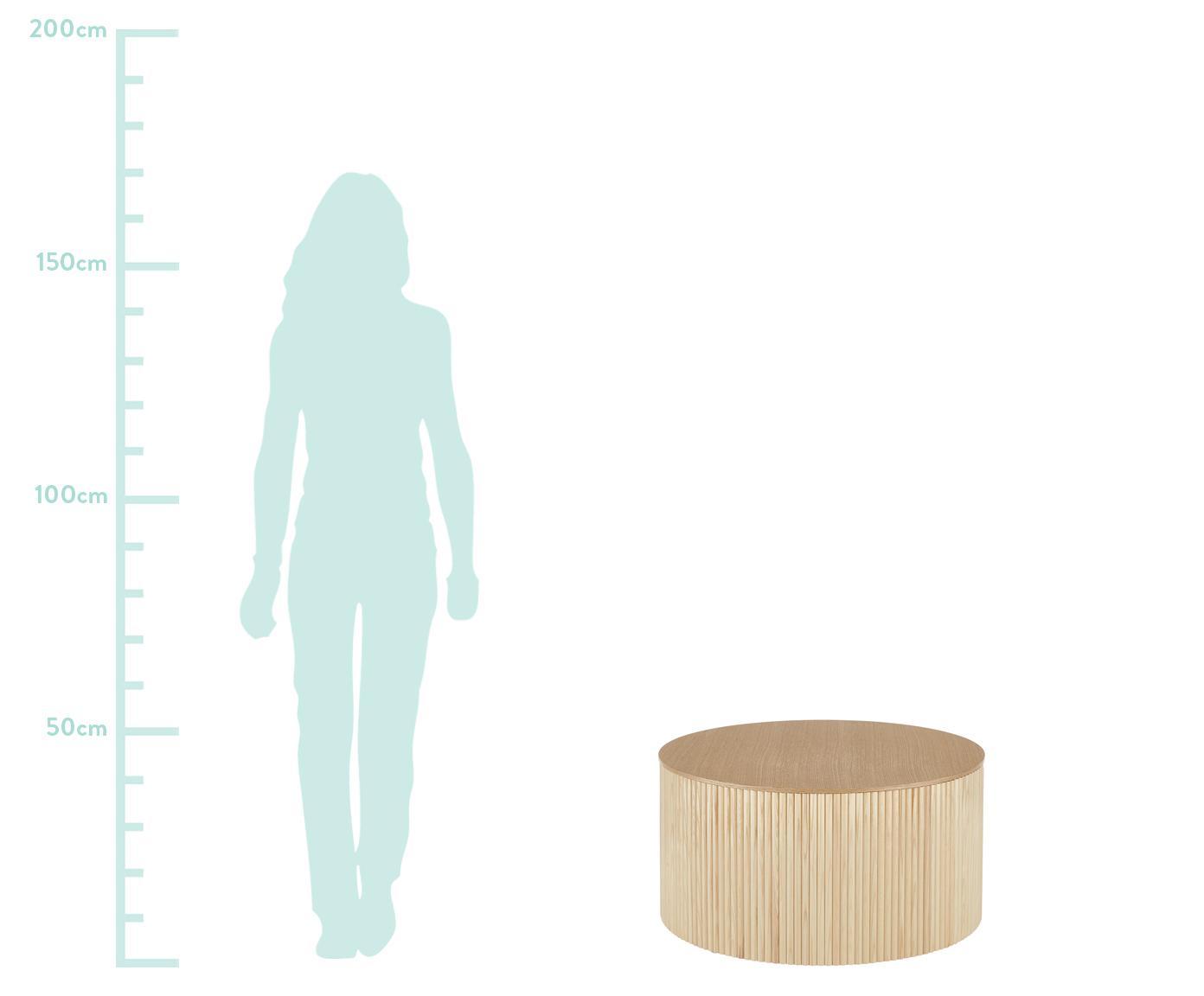 Couchtisch Nele mit Stauraum, Mitteldichte Holzfaserplatte (MDF) mit Eschenholzfurnier, Eschenholzfurnier, Ø 70 x H 36 cm
