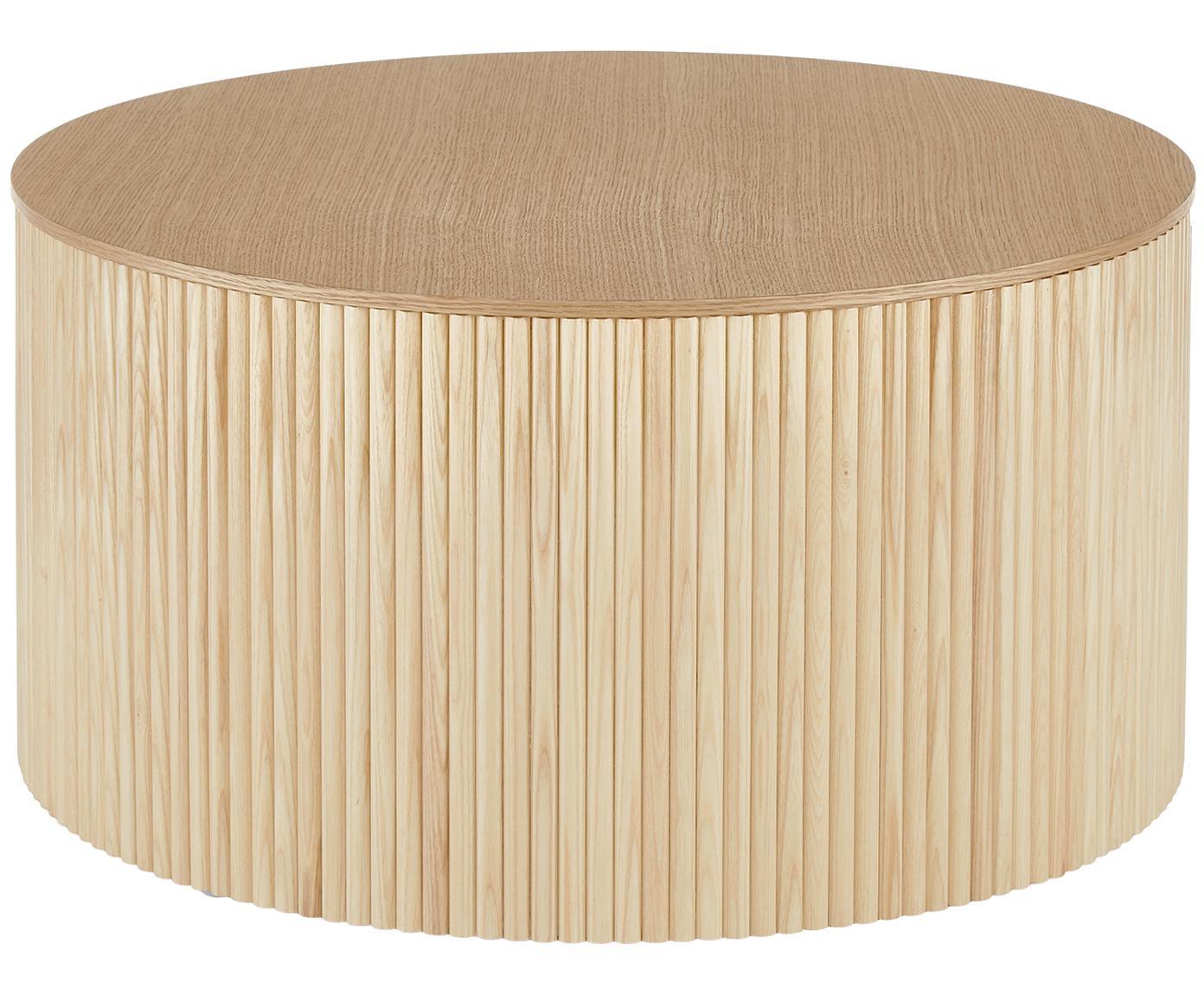 Tavolino contenitore rotondo Nele, Pannelli di fibra a media densità (MDF) con impiallacciatura di frassino, Impiallacciatura di frassino, Ø 70 x Alt. 36 cm