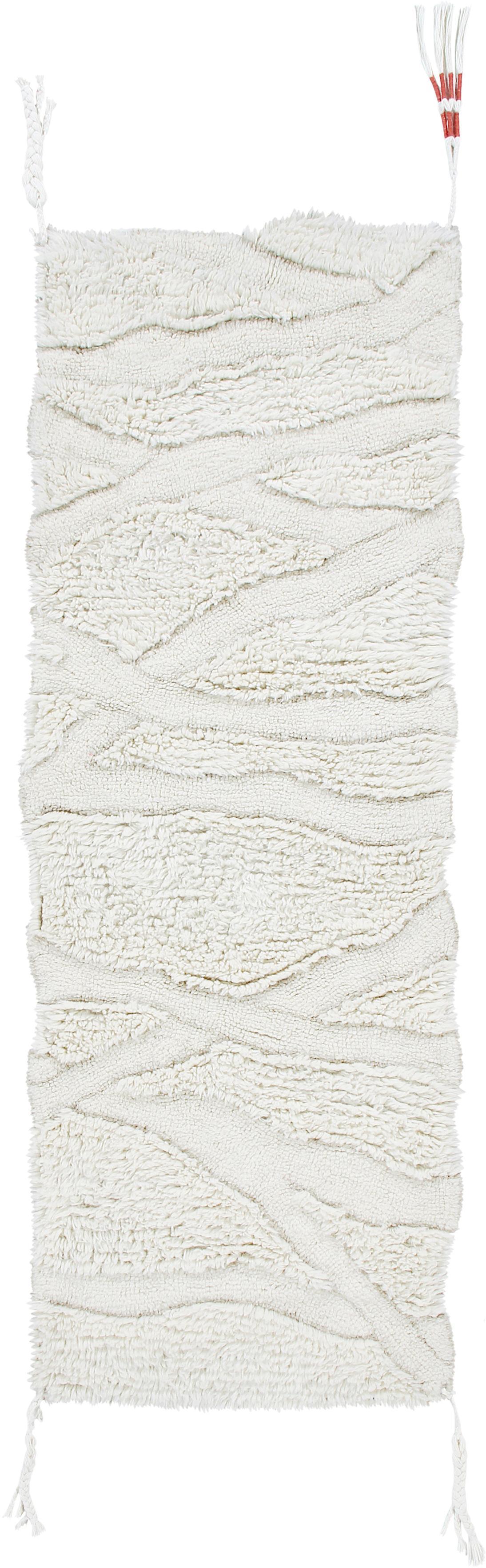 Flauschiger Wollläufer Enkang Ivory mit Hoch-Tief-Struktur und Quasten, Flor: 100% Wolle, Gebrochenes Weiß, 70 x 200 cm
