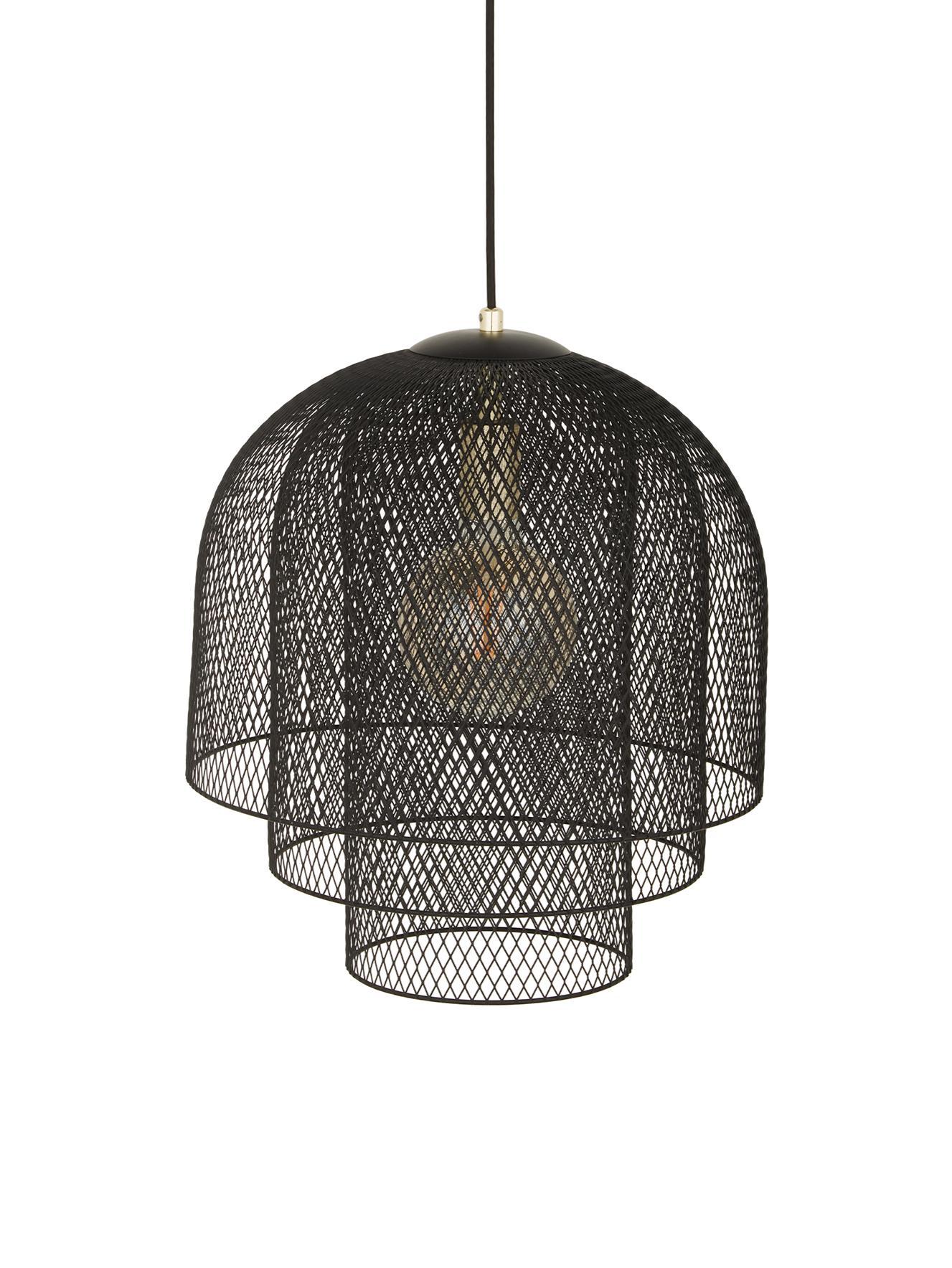 Lámpara de techo Louie, Cable: cubierto en tela, Negro mate, Ø 40 x Al 43 cm