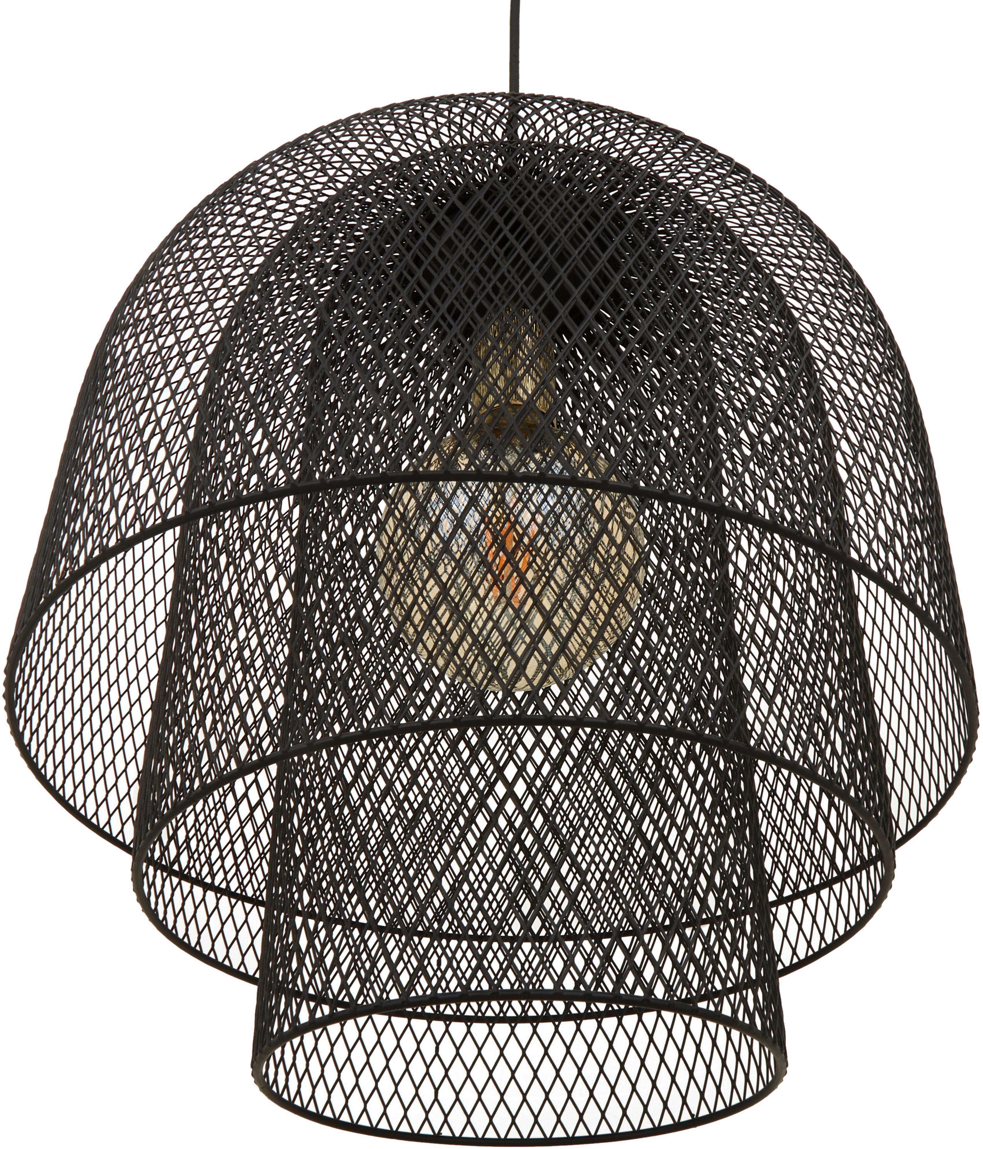 Hanglamp Louie in zwart, Baldakijn, lampframe en lampenkap: mat zwart. Snoer: zwart, Ø 40 x H 43 cm